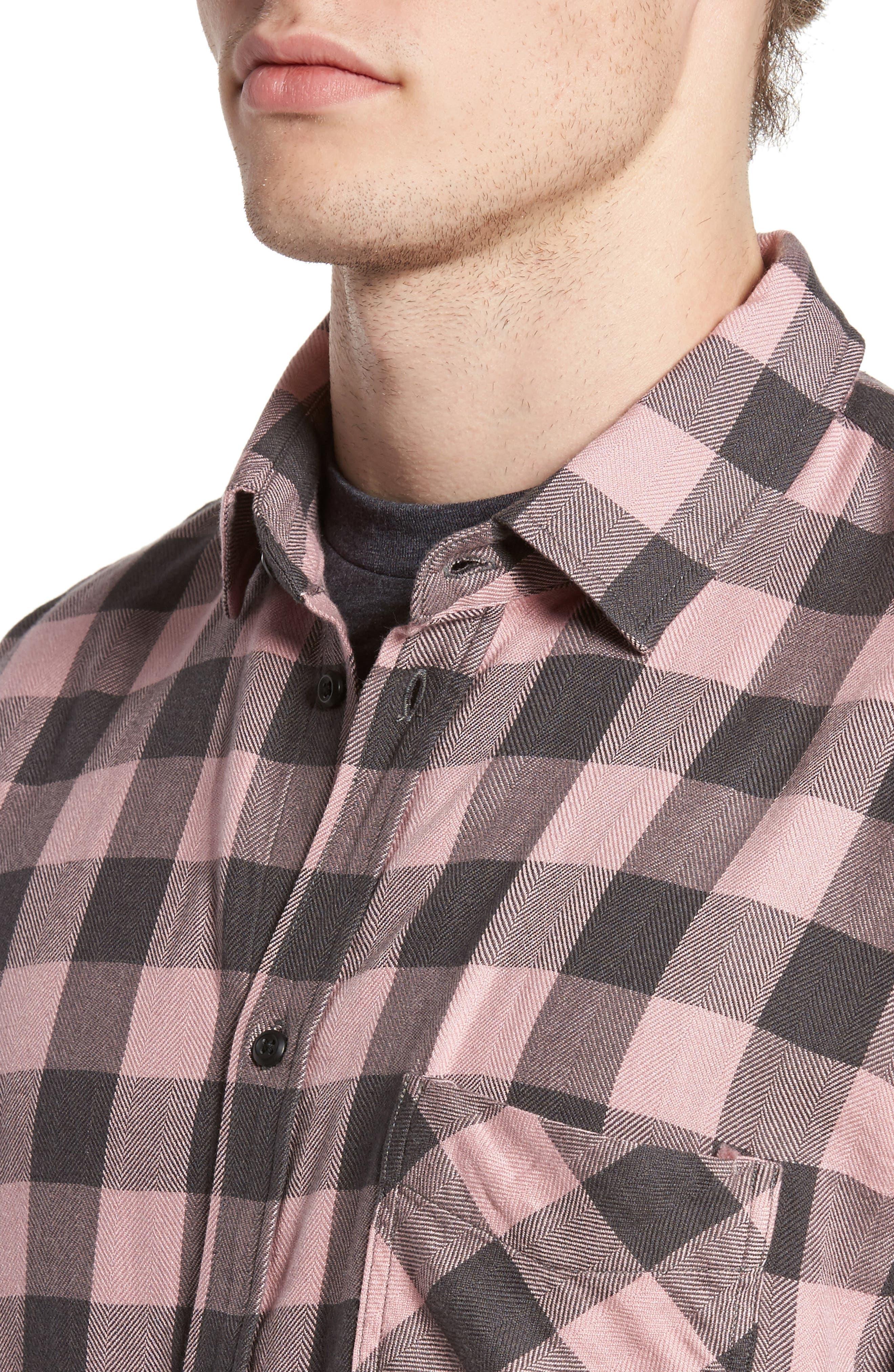 Lennox Sport Shirt,                             Alternate thumbnail 4, color,                             Pale Pink/ Charcoal