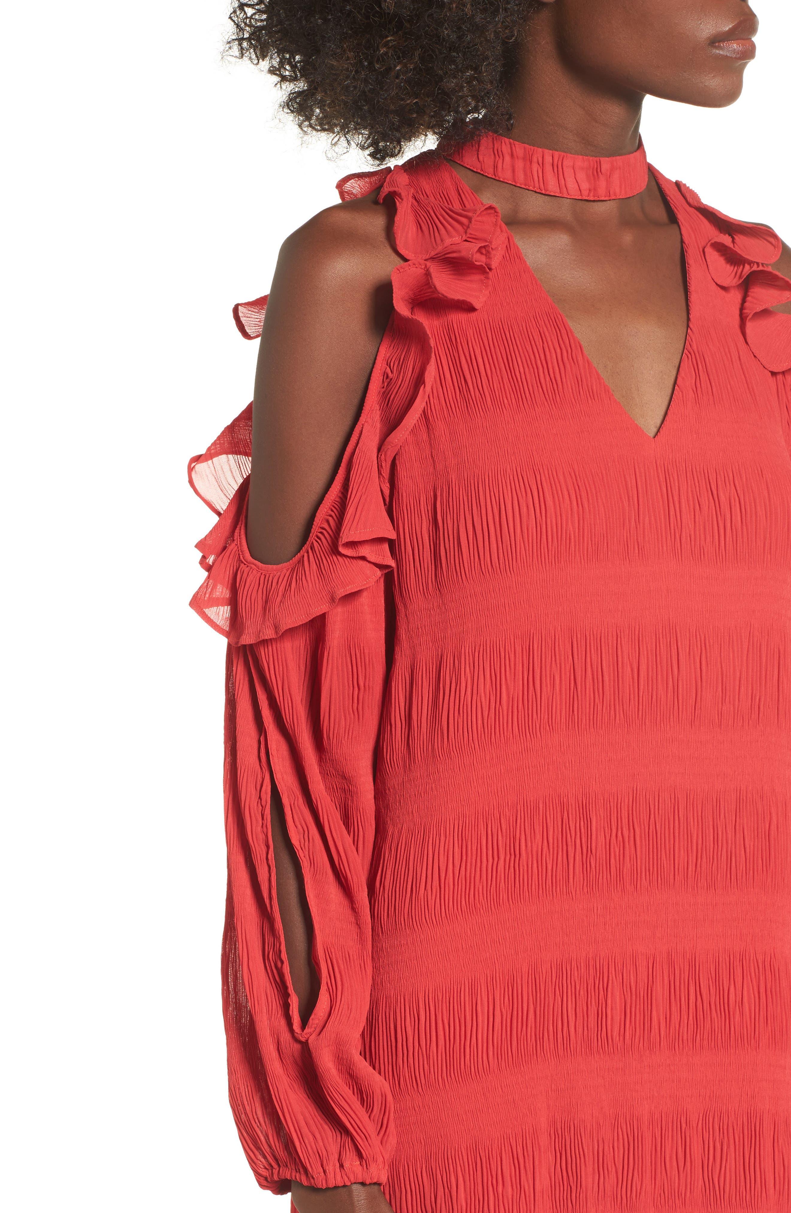 Hallie Cold Shoulder Dress,                             Alternate thumbnail 4, color,                             Dragon