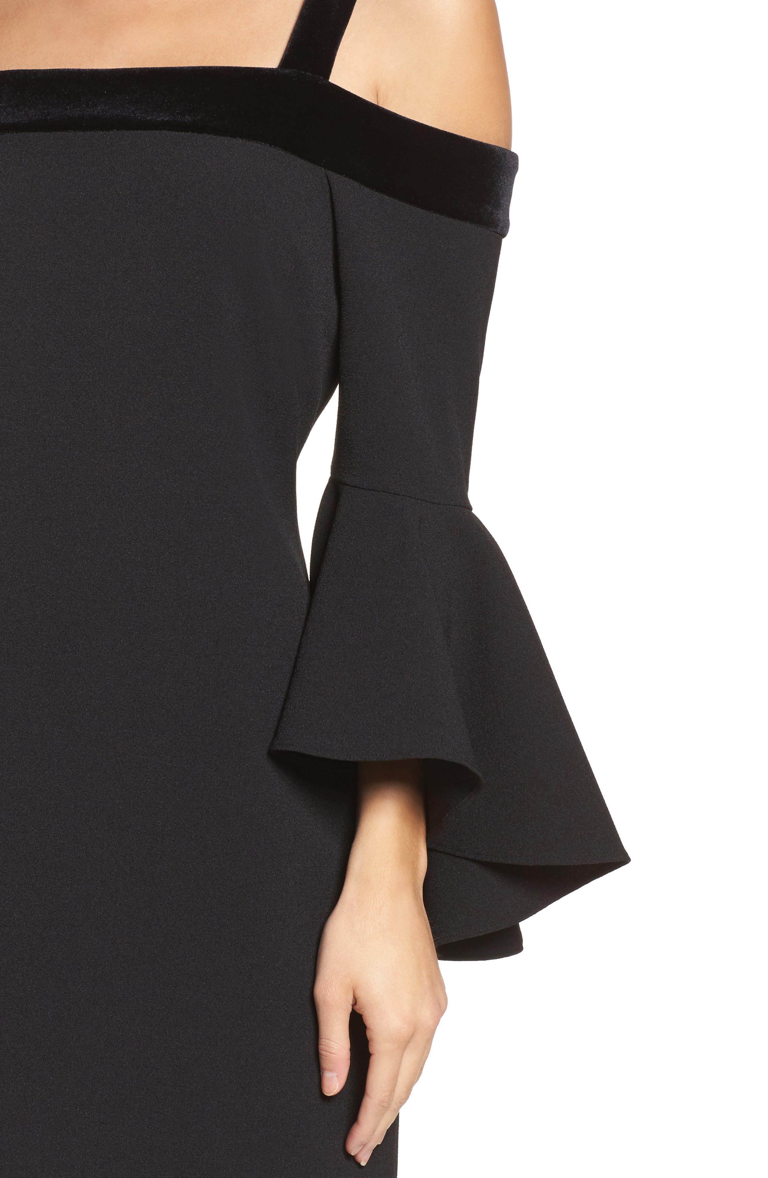 Bell Sleeve Cold Shoulder Shift Dress,                             Alternate thumbnail 4, color,                             Black