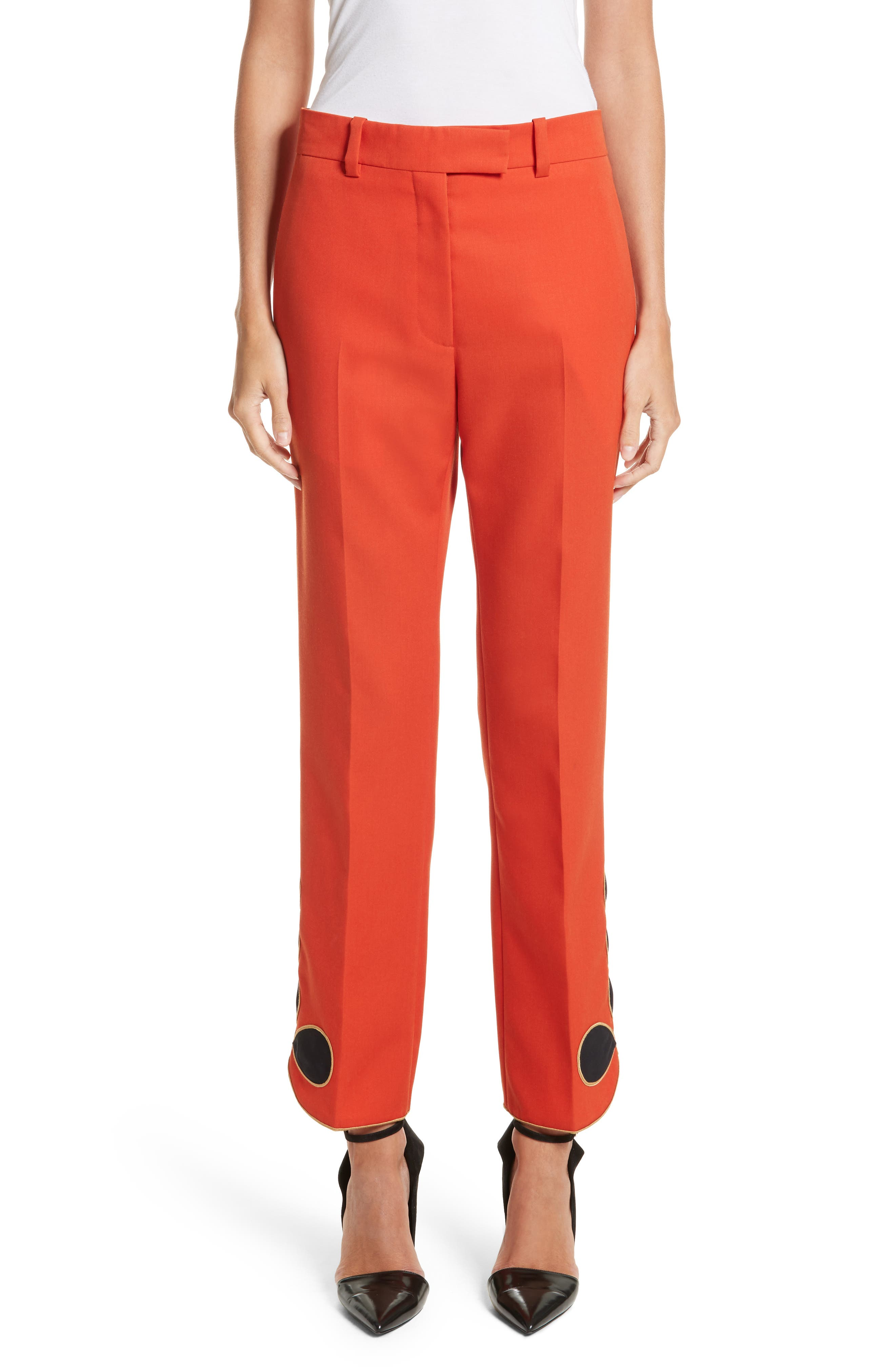 Calvin Klein 205W39NYC Embroidered Hem Wool Gabardine Pants