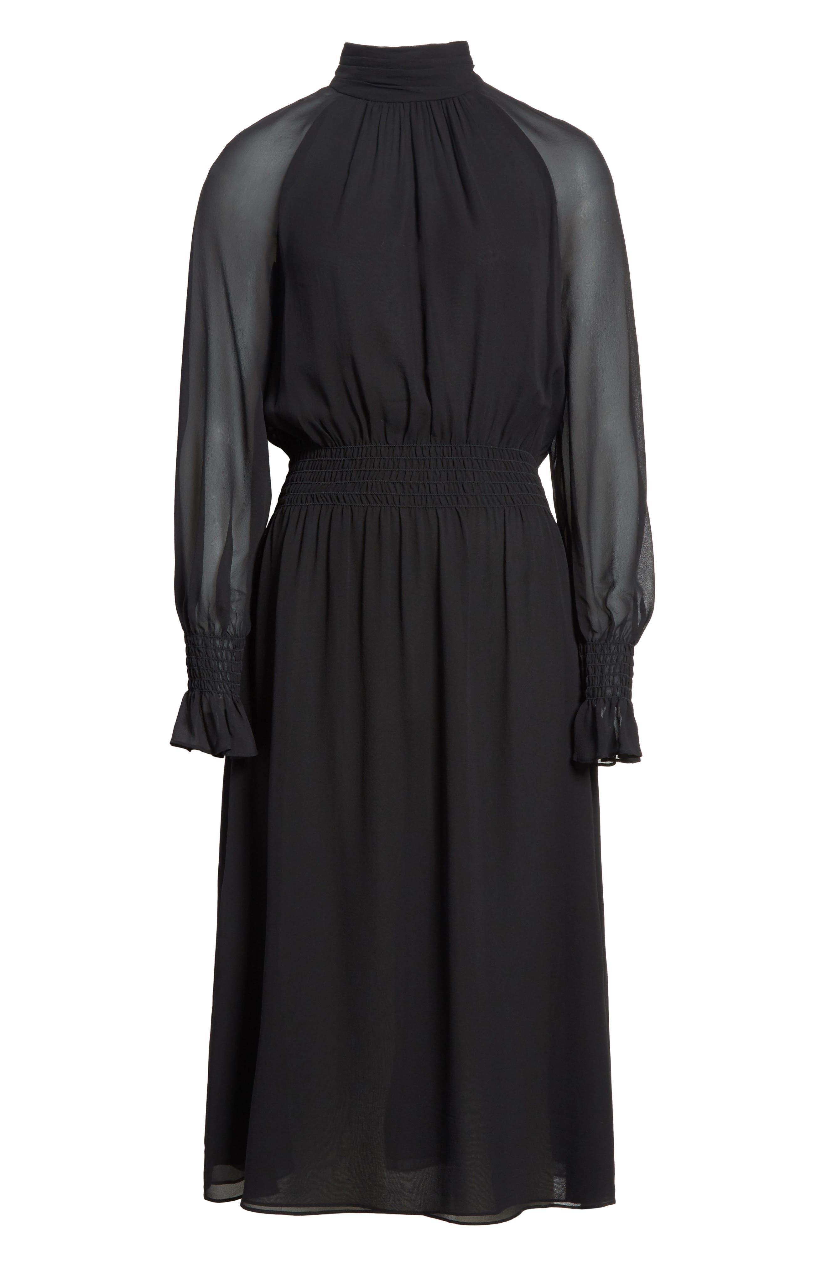 Collette Silk Midi Dress,                             Alternate thumbnail 6, color,                             Black