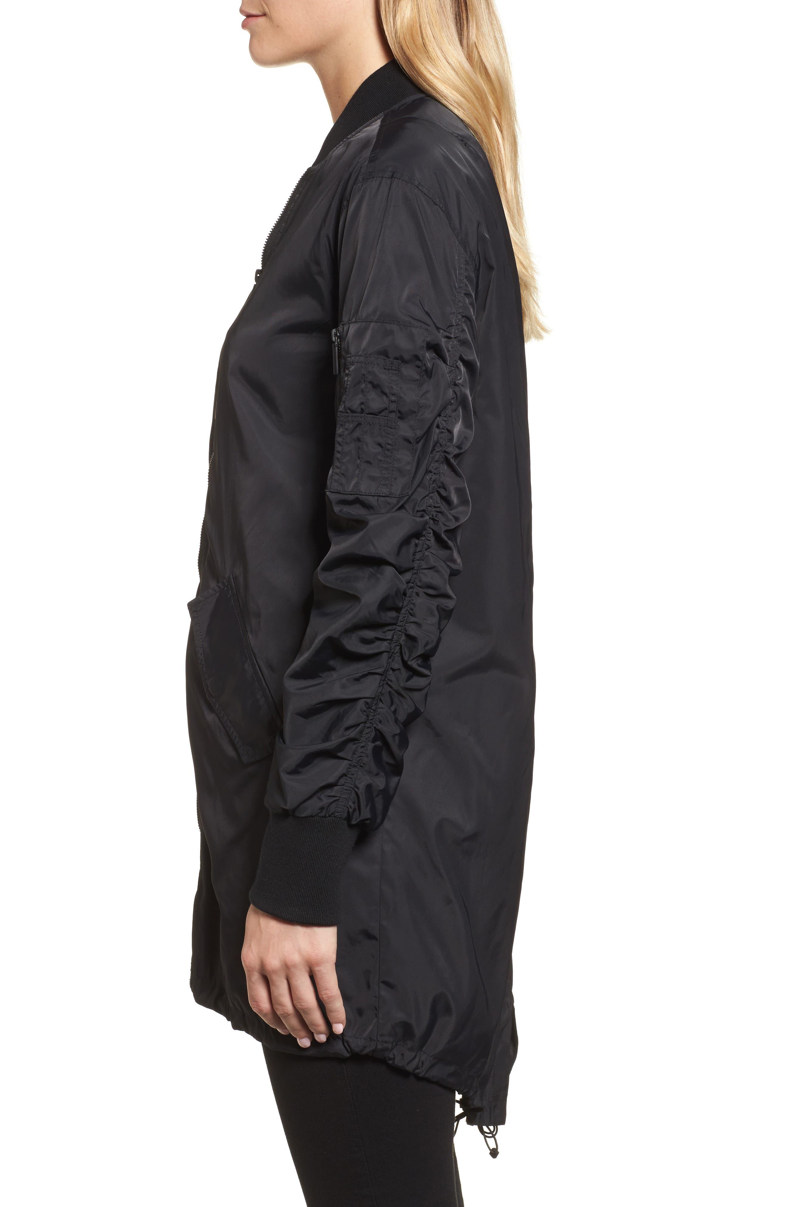 Bomber Anorak Jacket,                             Alternate thumbnail 3, color,                             Black