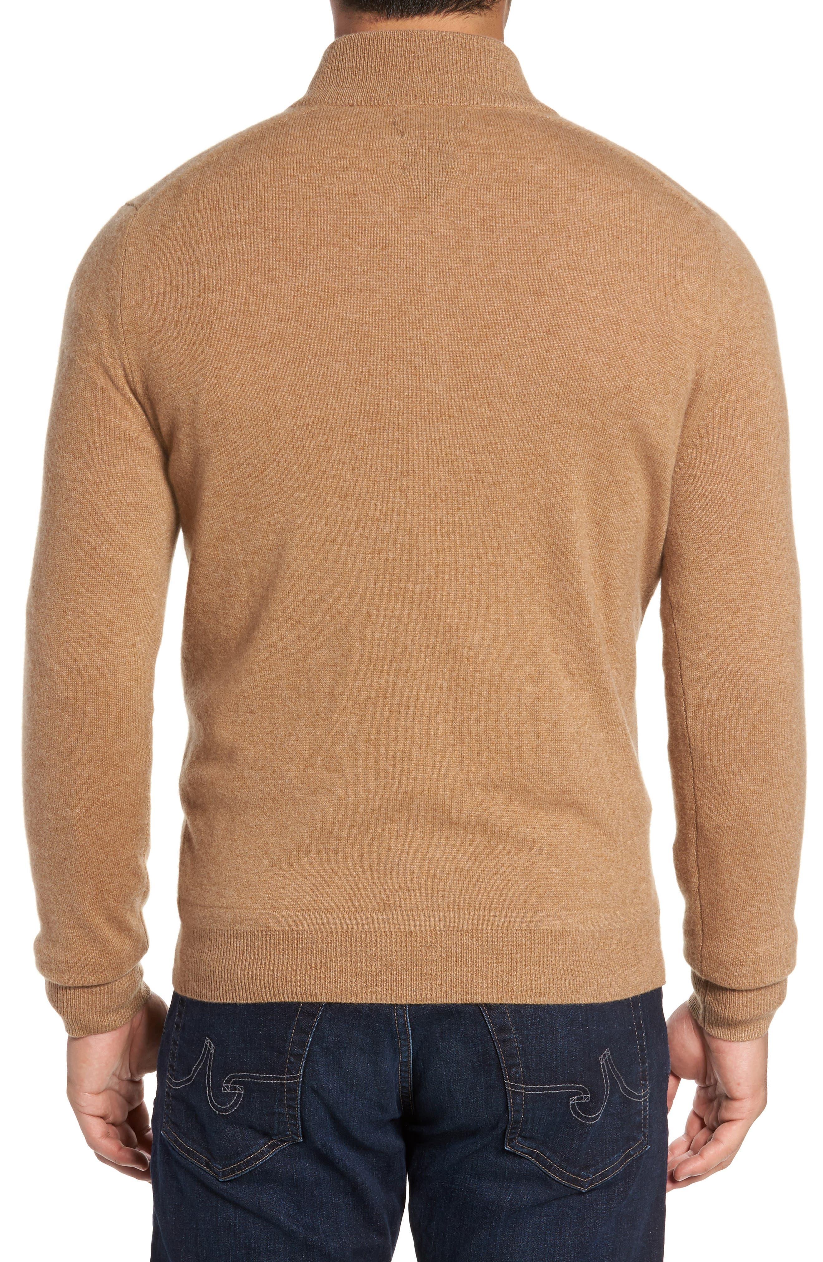 Cashmere Quarter Zip Sweater,                             Alternate thumbnail 2, color,                             Brown Bear
