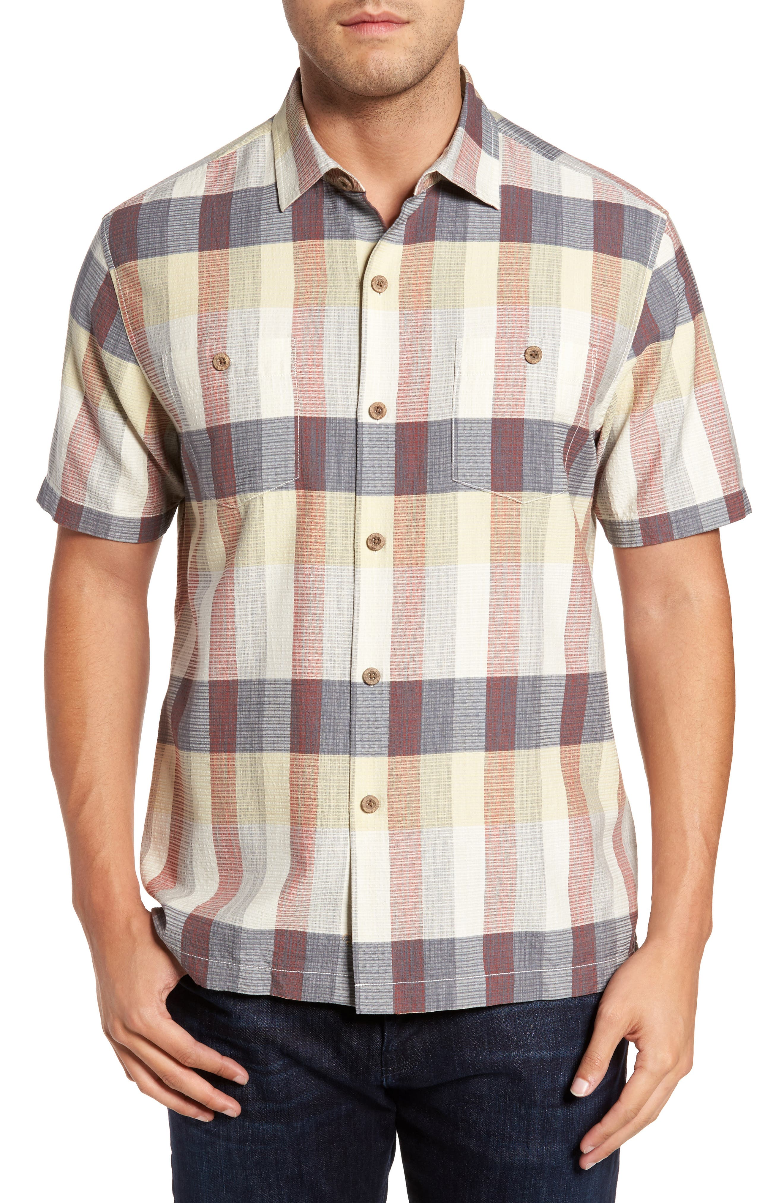 Tamuda Bay Plaid Silk Blend Camp Shirt,                         Main,                         color, Twill