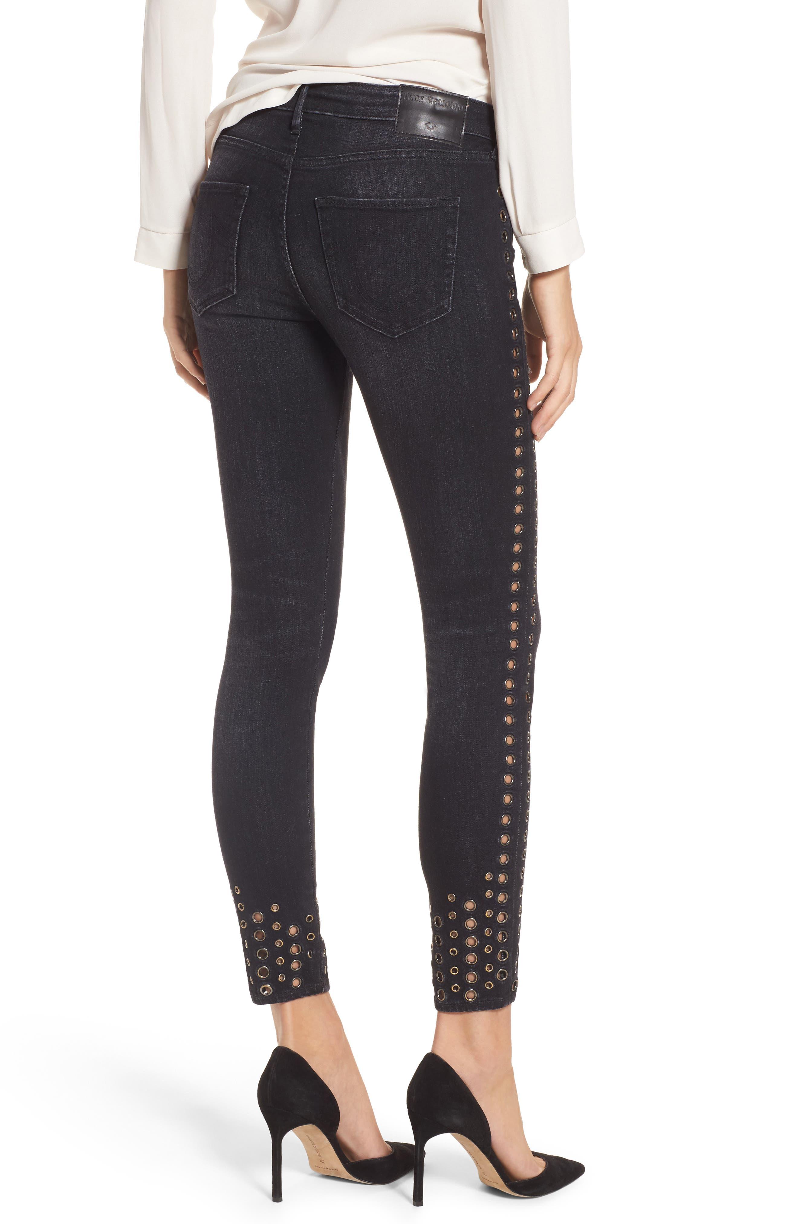 Halle Ankle Super Skinny Jeans,                             Alternate thumbnail 2, color,                             Rock Solid Wash