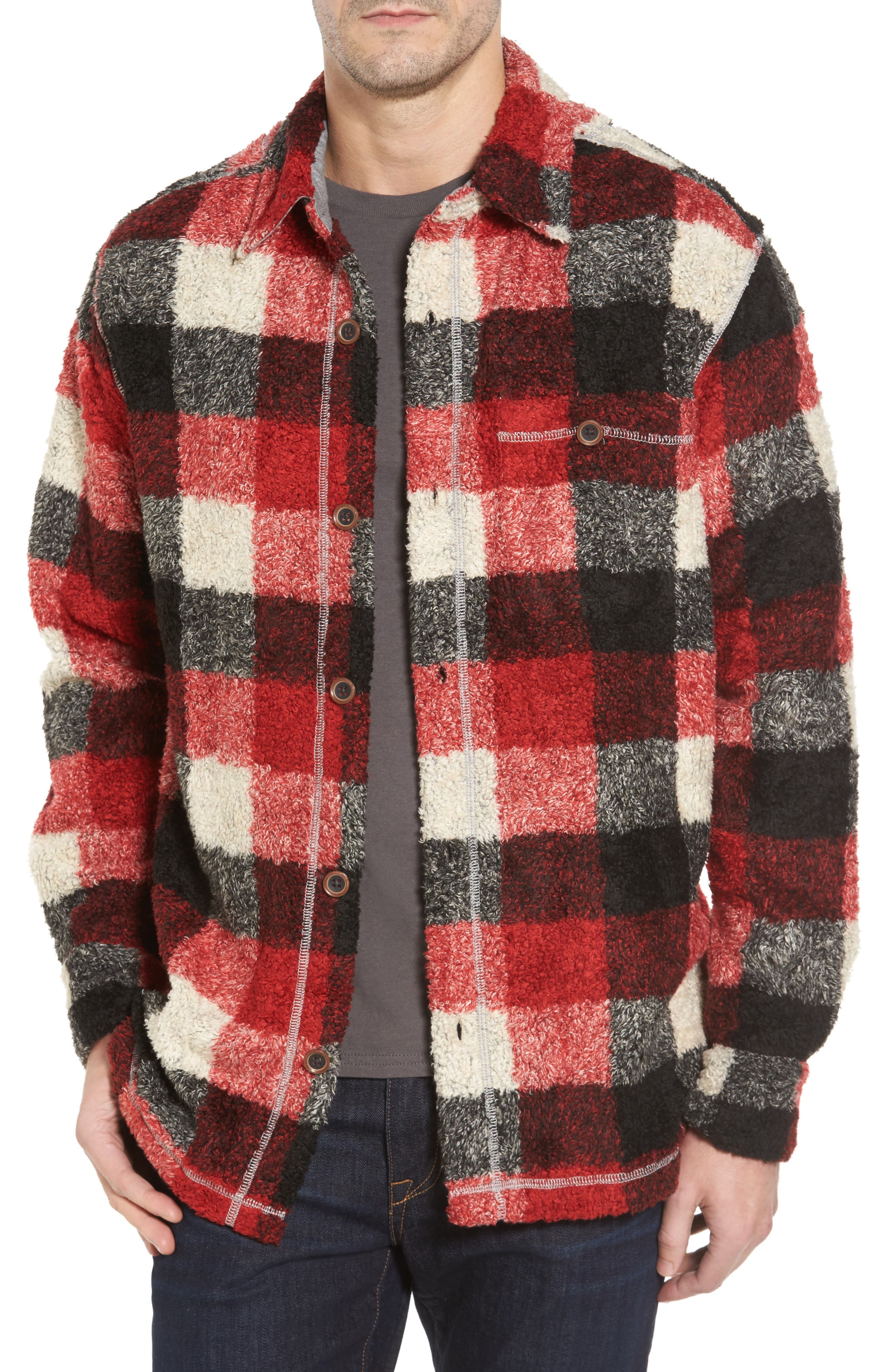 Textured Buffalo Check Shirt Jacket,                         Main,                         color, Red/ Black
