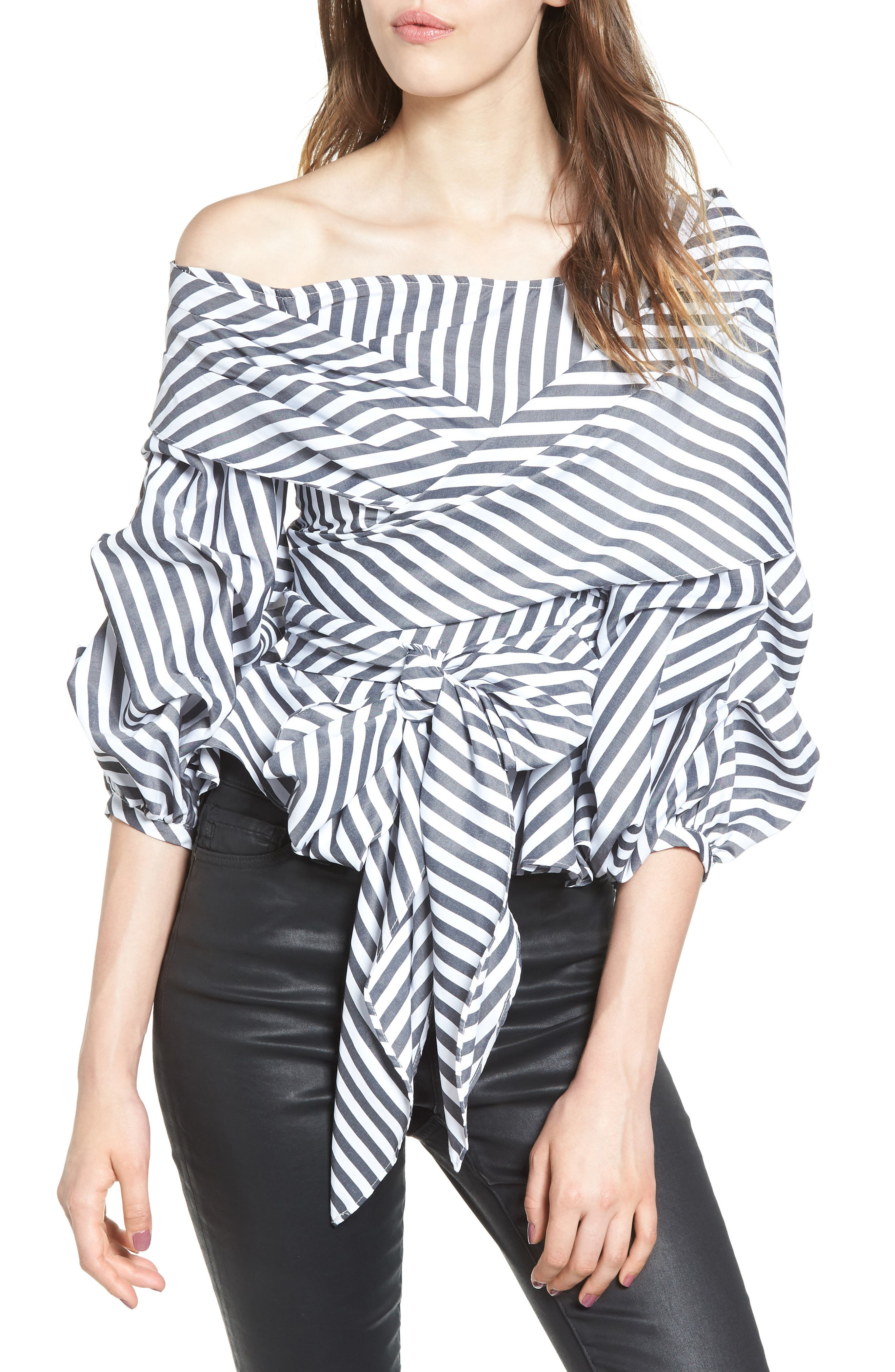 The Lovers Lane Top,                             Main thumbnail 1, color,                             Striped Charcoal