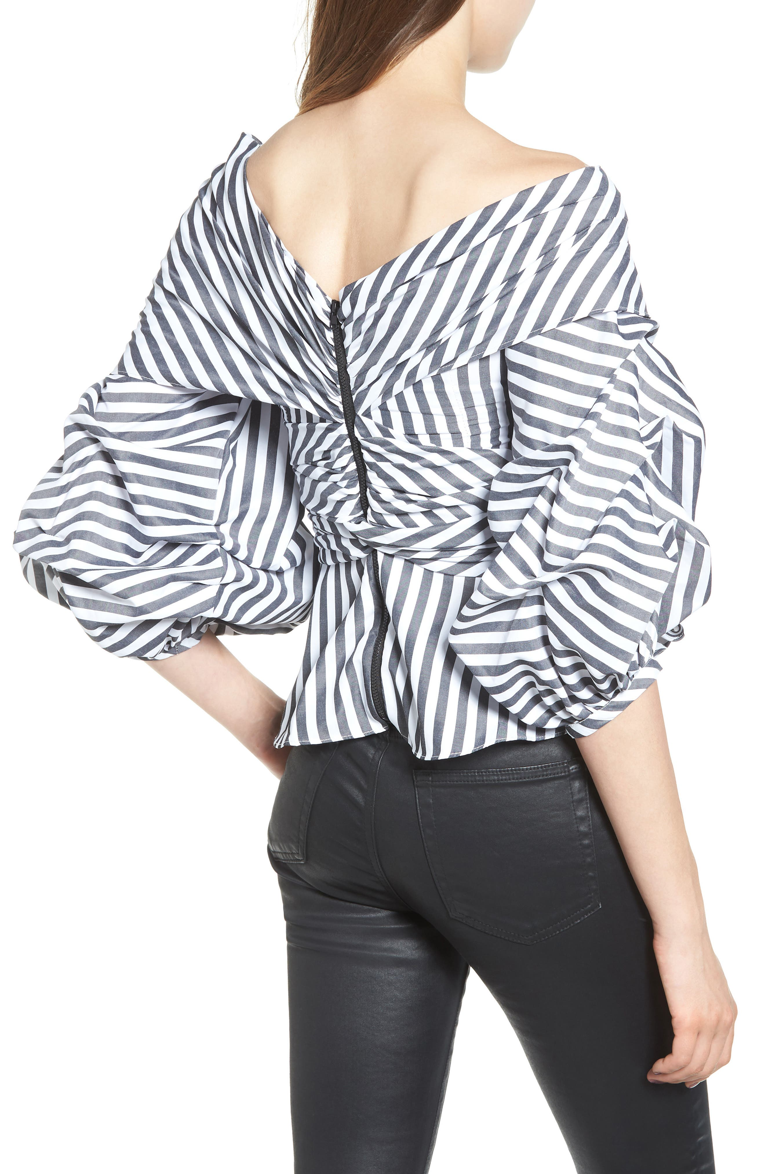 The Lovers Lane Top,                             Alternate thumbnail 2, color,                             Striped Charcoal