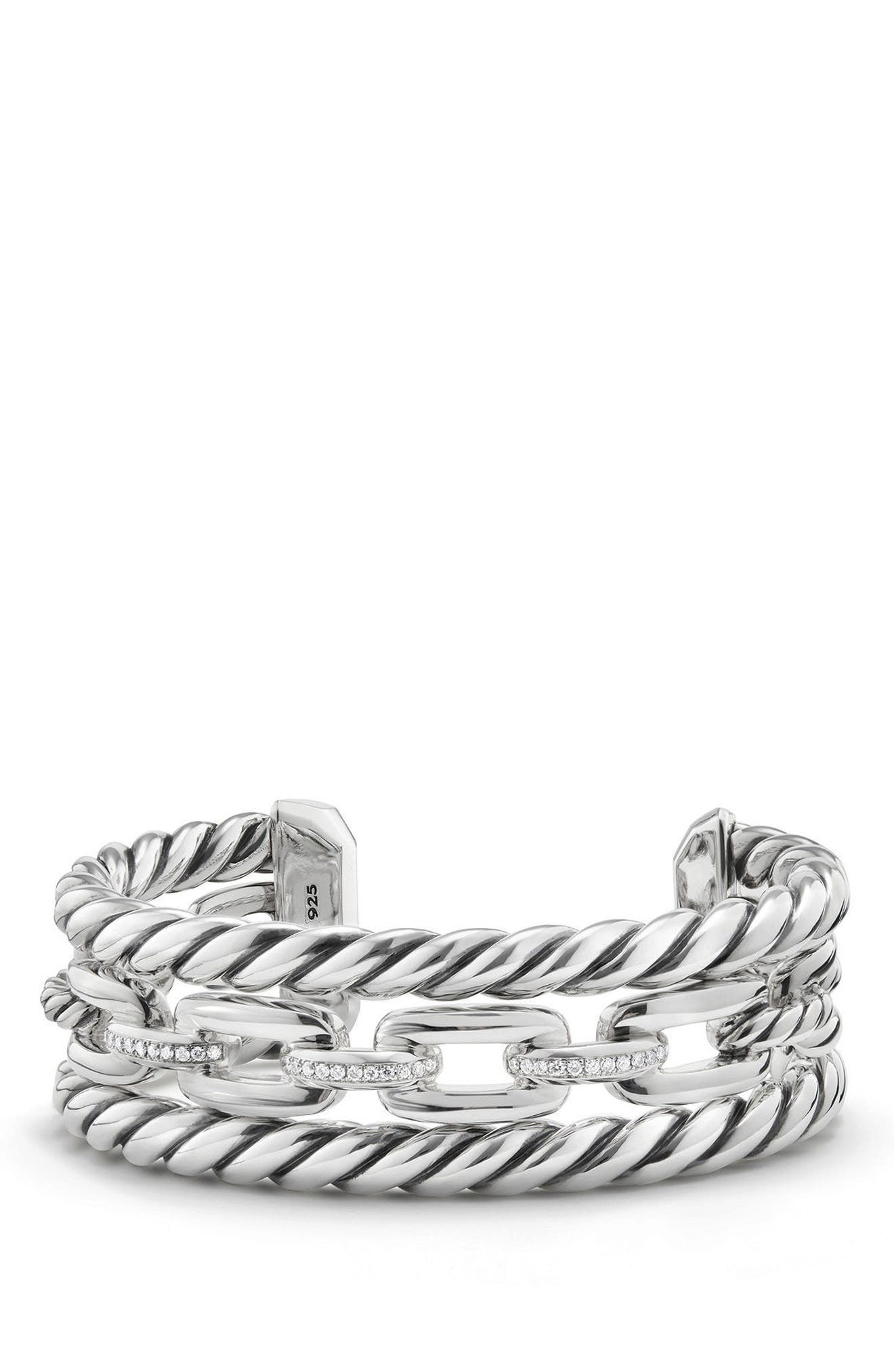 Wellesley Link Chain Three-Row Cuff with Diamonds,                         Main,                         color, Silver