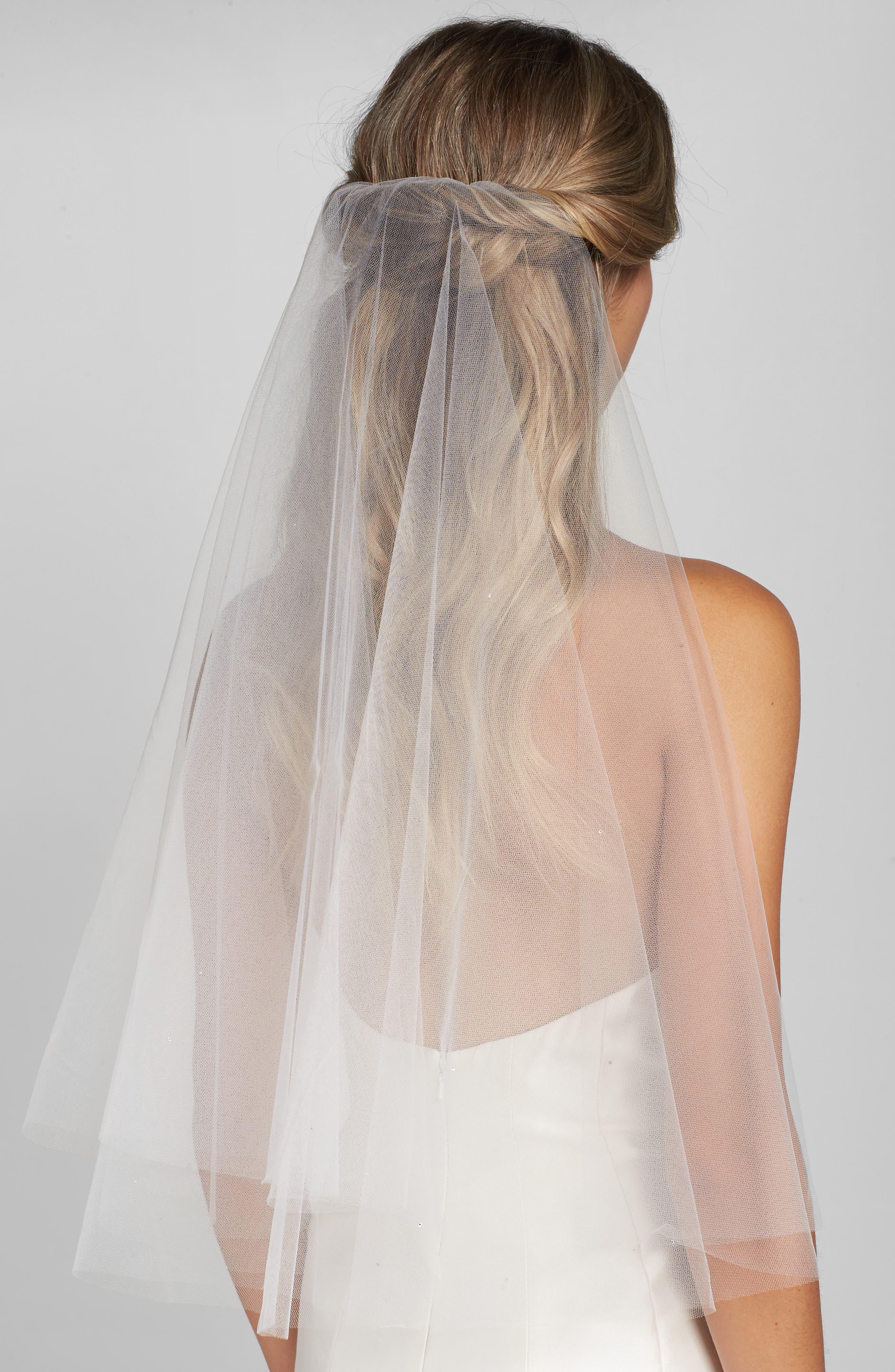 'Madeline - Crystal' Two Tier Veil,                         Main,                         color, Diamond White