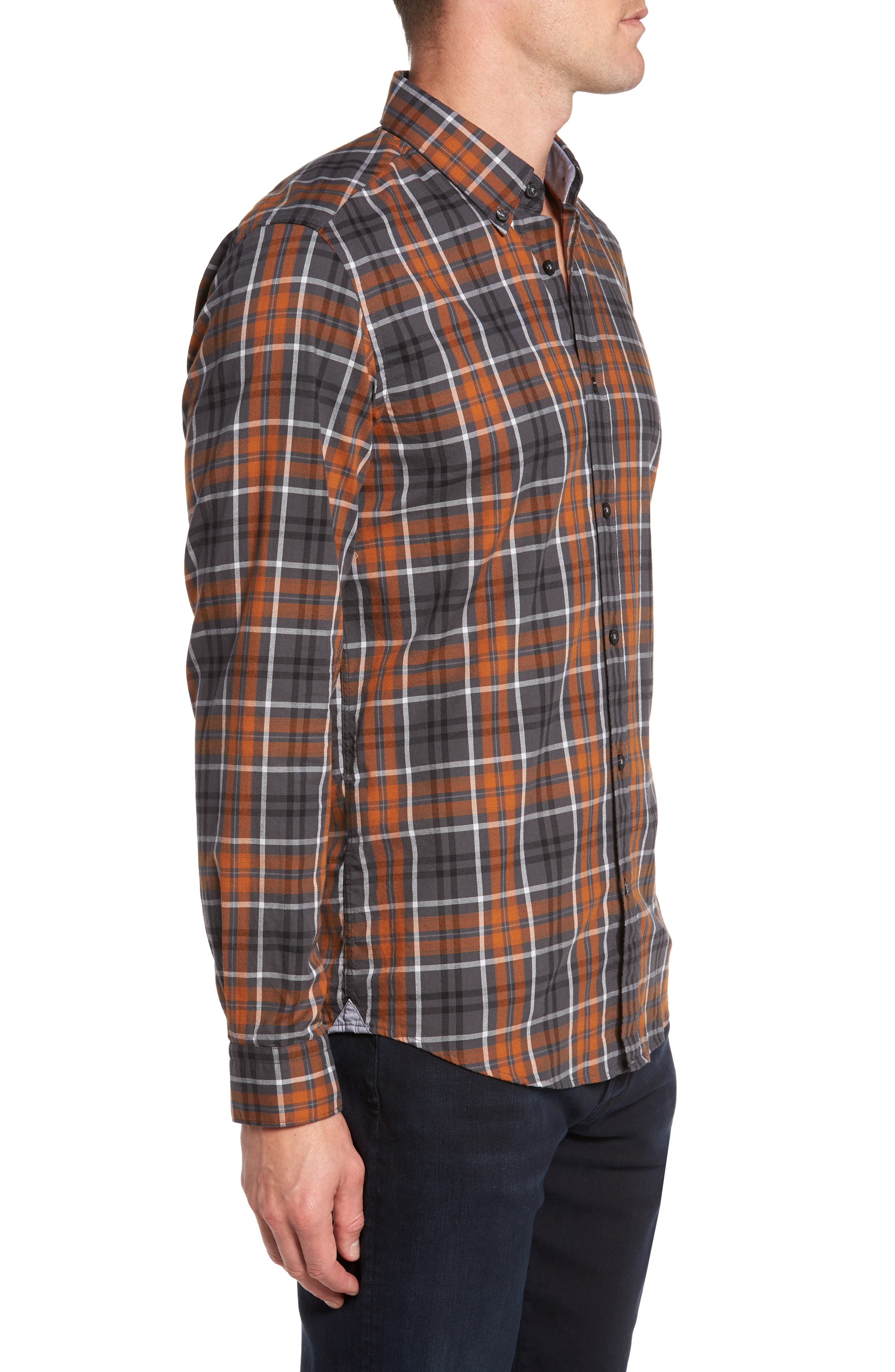 Check Sport Shirt,                             Alternate thumbnail 3, color,                             Brown
