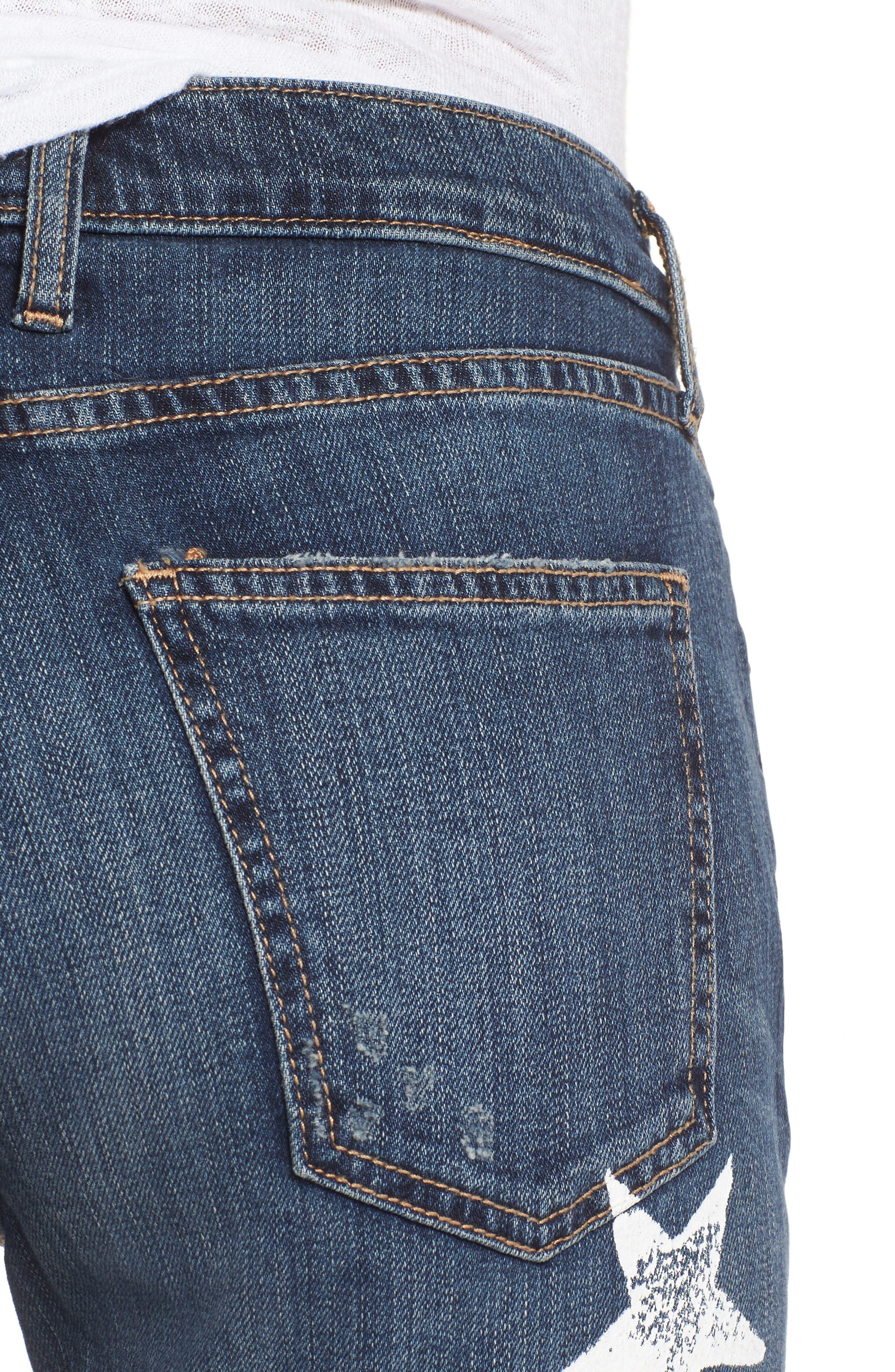 The Fling High Waist Boyfriend Jeans,                             Alternate thumbnail 4, color,                             Loved Destroy/ White Stars