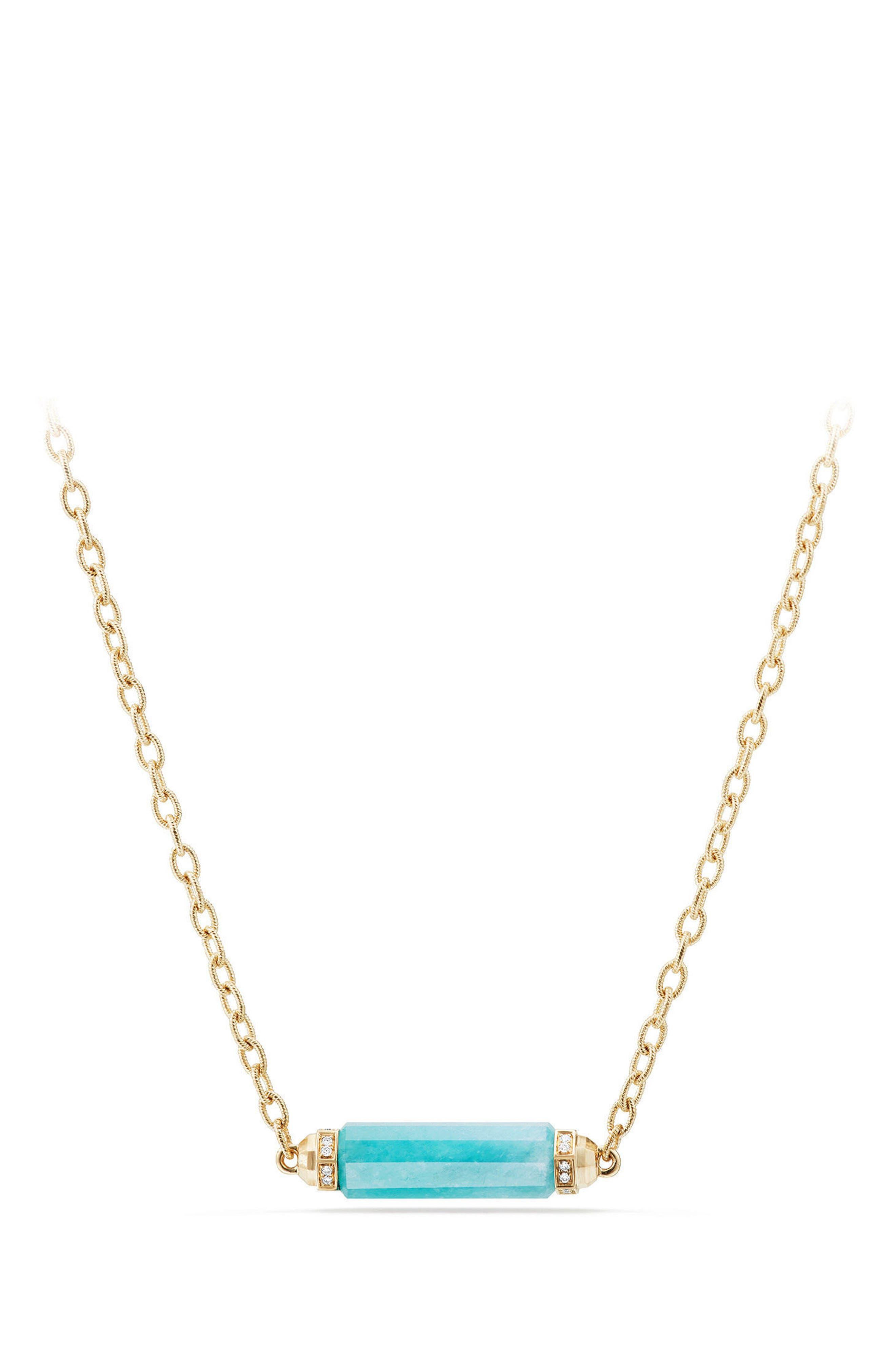 David Yurman Barrels Single Station Necklace with Diamonds in 18K Gold