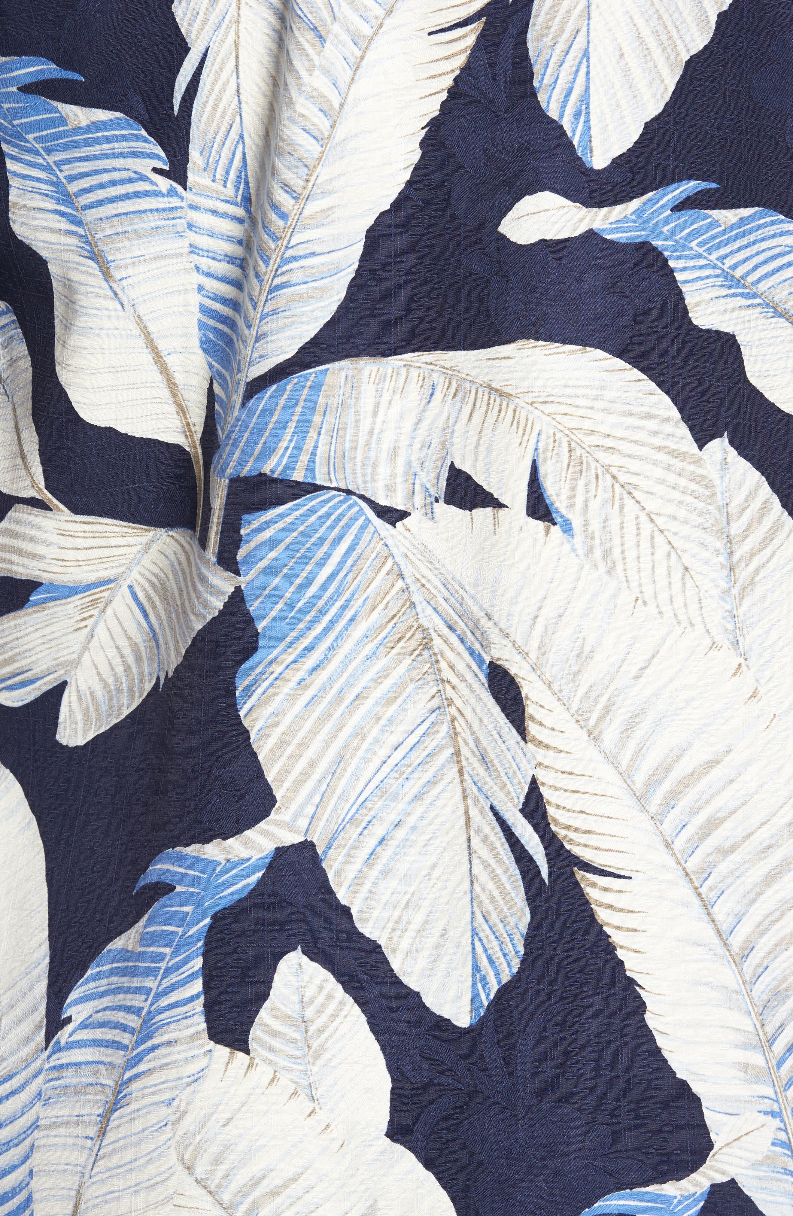 Cascara Fronds Silk Camp Shirt,                             Alternate thumbnail 5, color,                             Ocean Deep