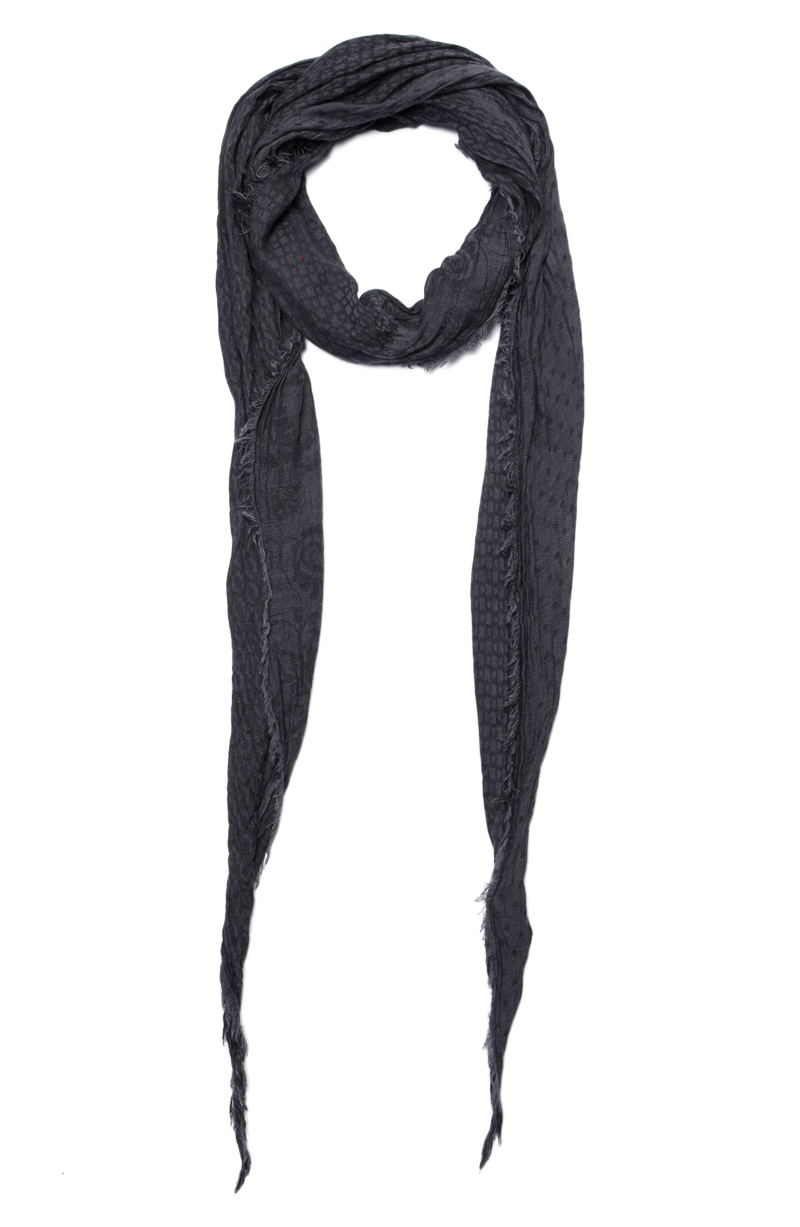 Crinkled Print Scarf,                         Main,                         color, Charcoal