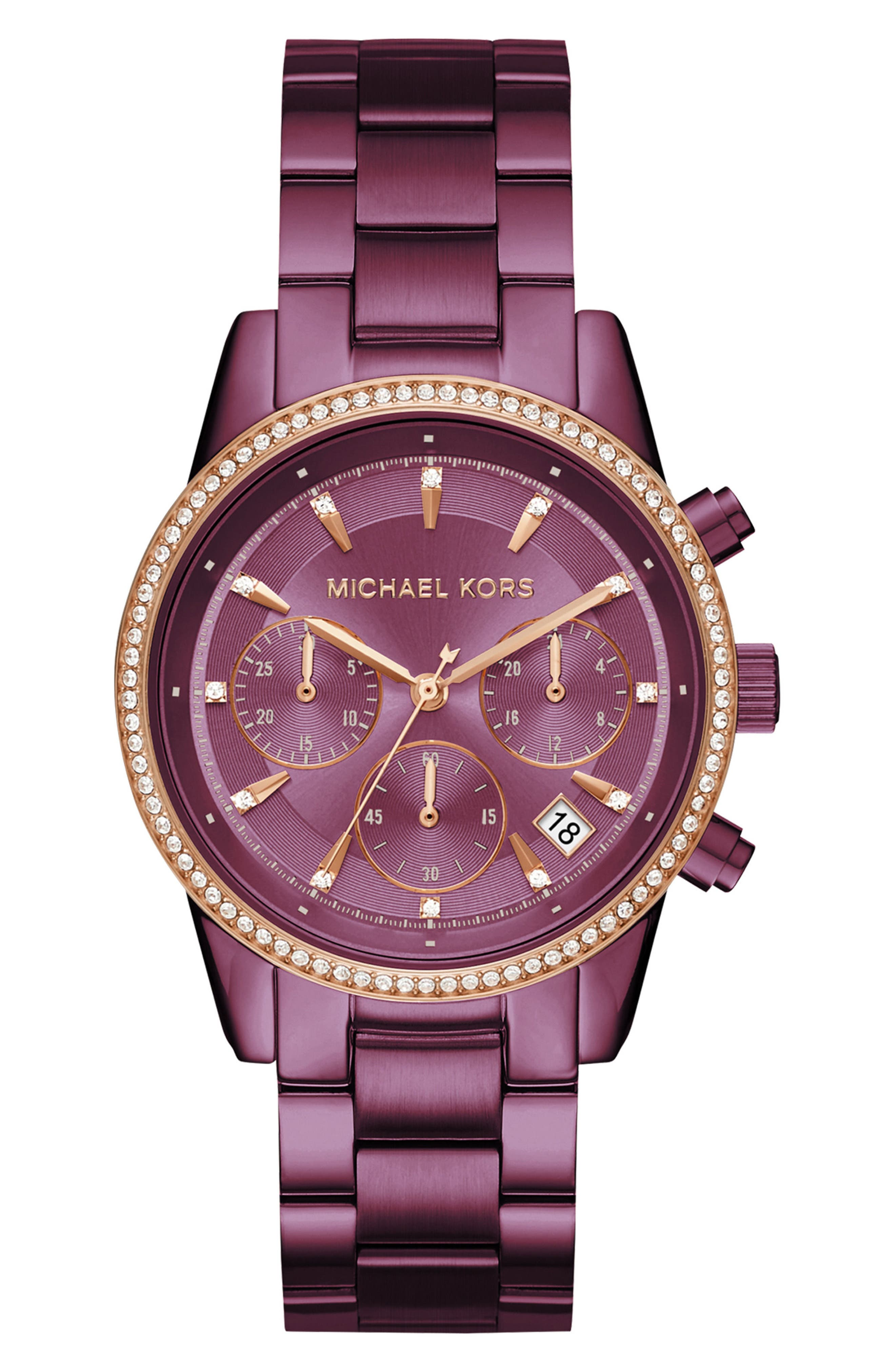 Main Image - Michael Kors Ritz Crystal Chronograph Bracelet Watch, 37mm