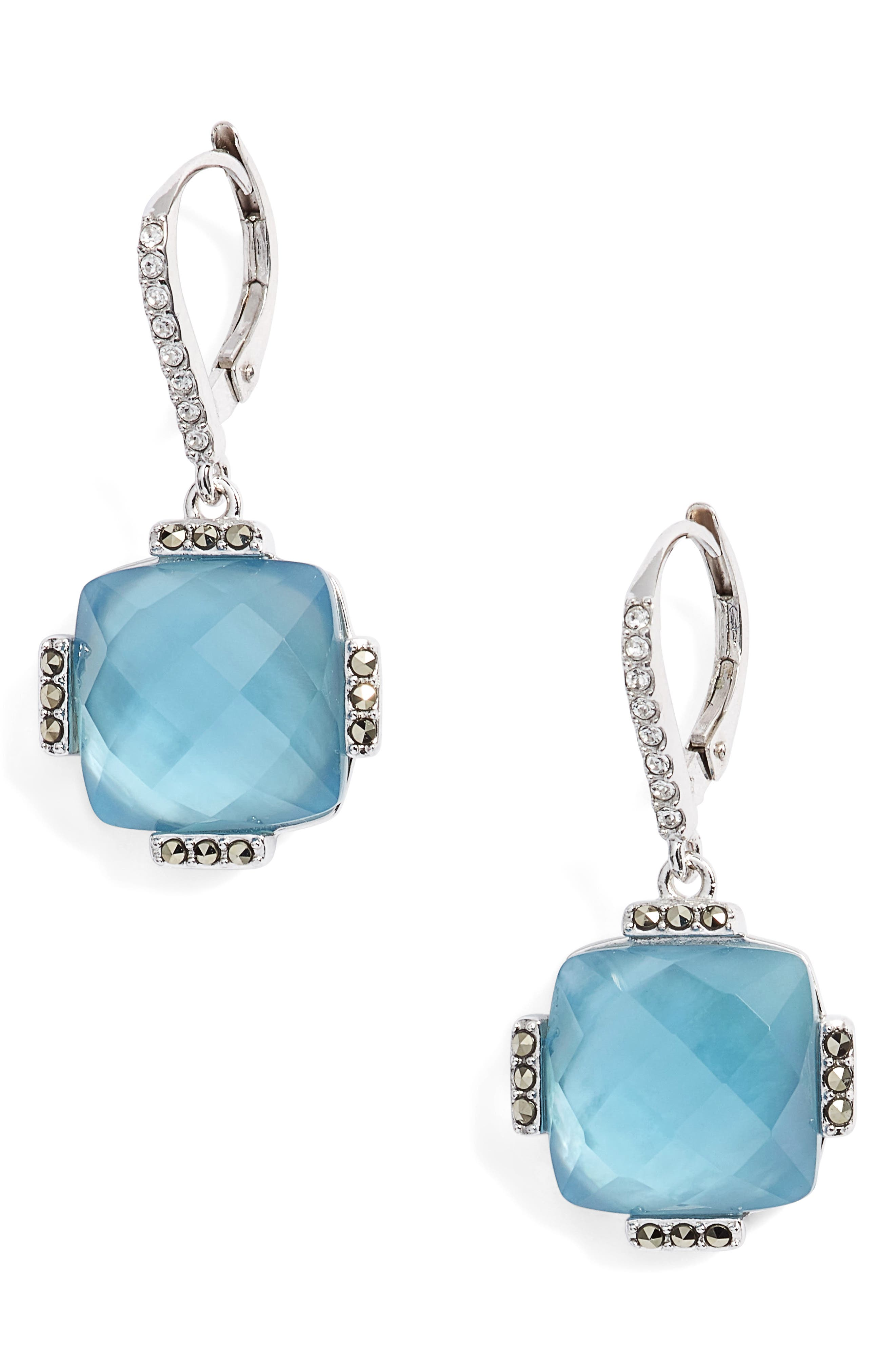 Doublet Drop Earrings,                         Main,                         color, Blue/ Silver