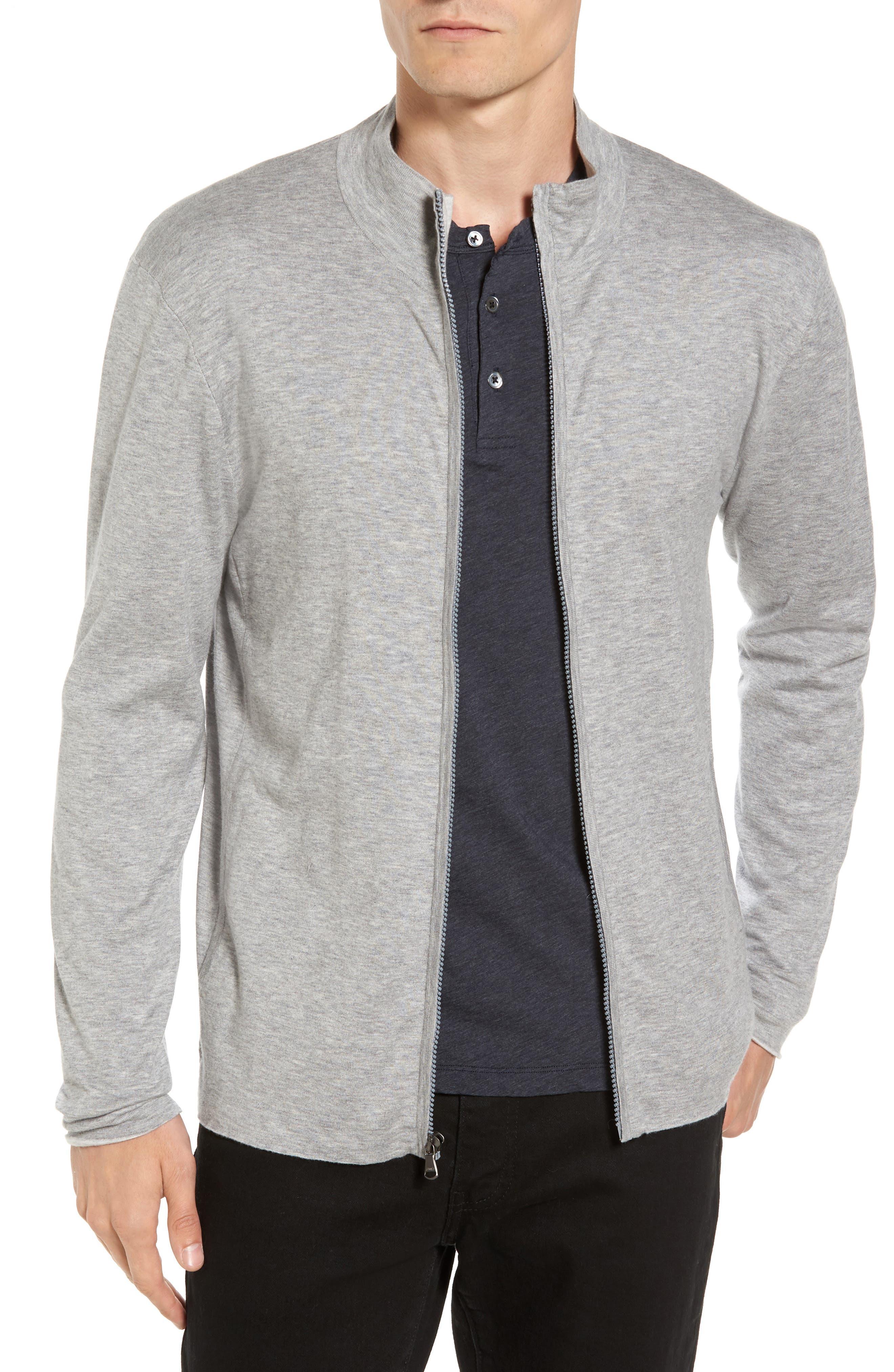 Mock Neck Zip Sweatshirt,                         Main,                         color, Heather Grey/ Platinum