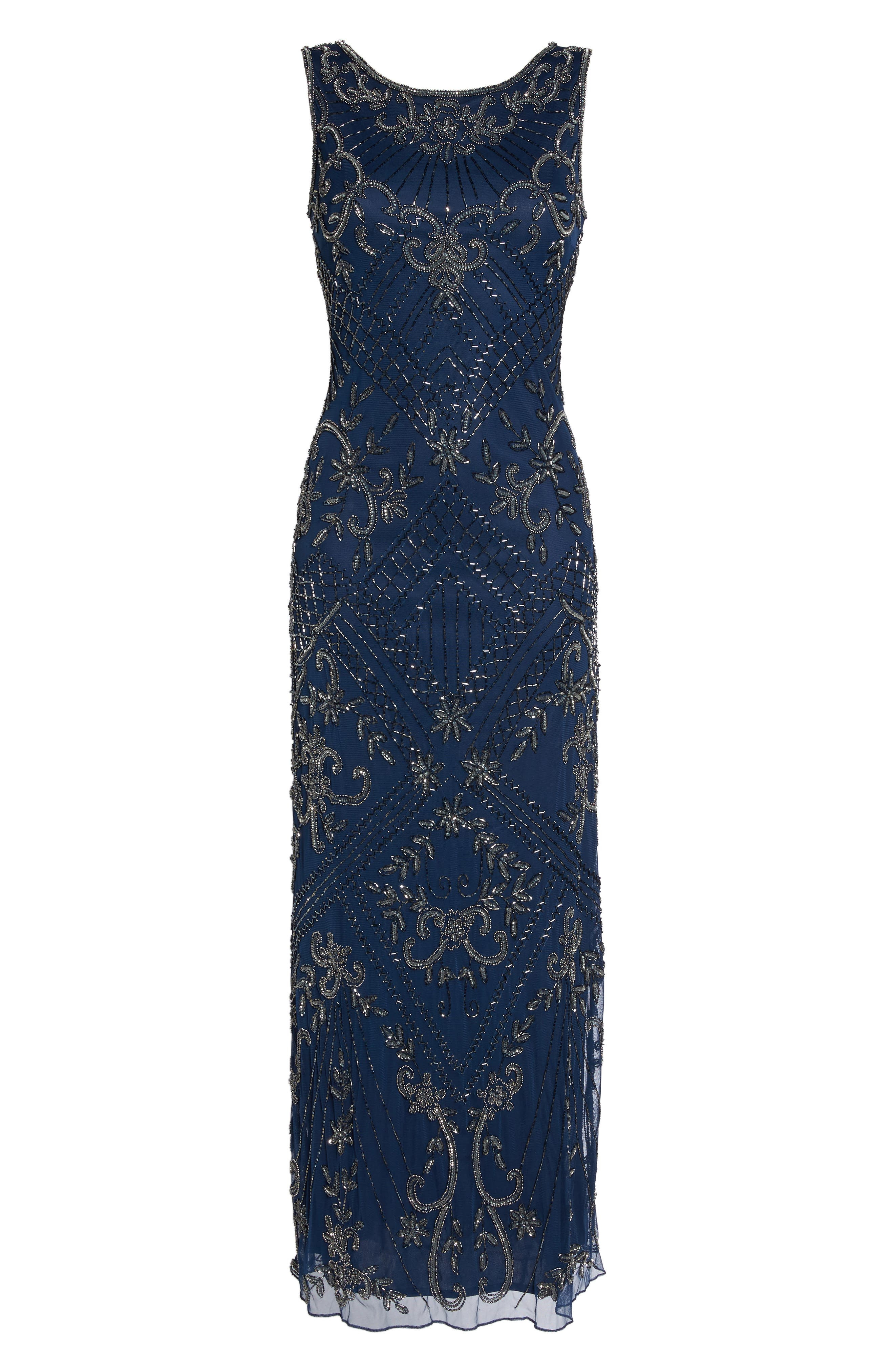 Embroidered Mesh Gown,                             Main thumbnail 1, color,                             Navy/ Mercury