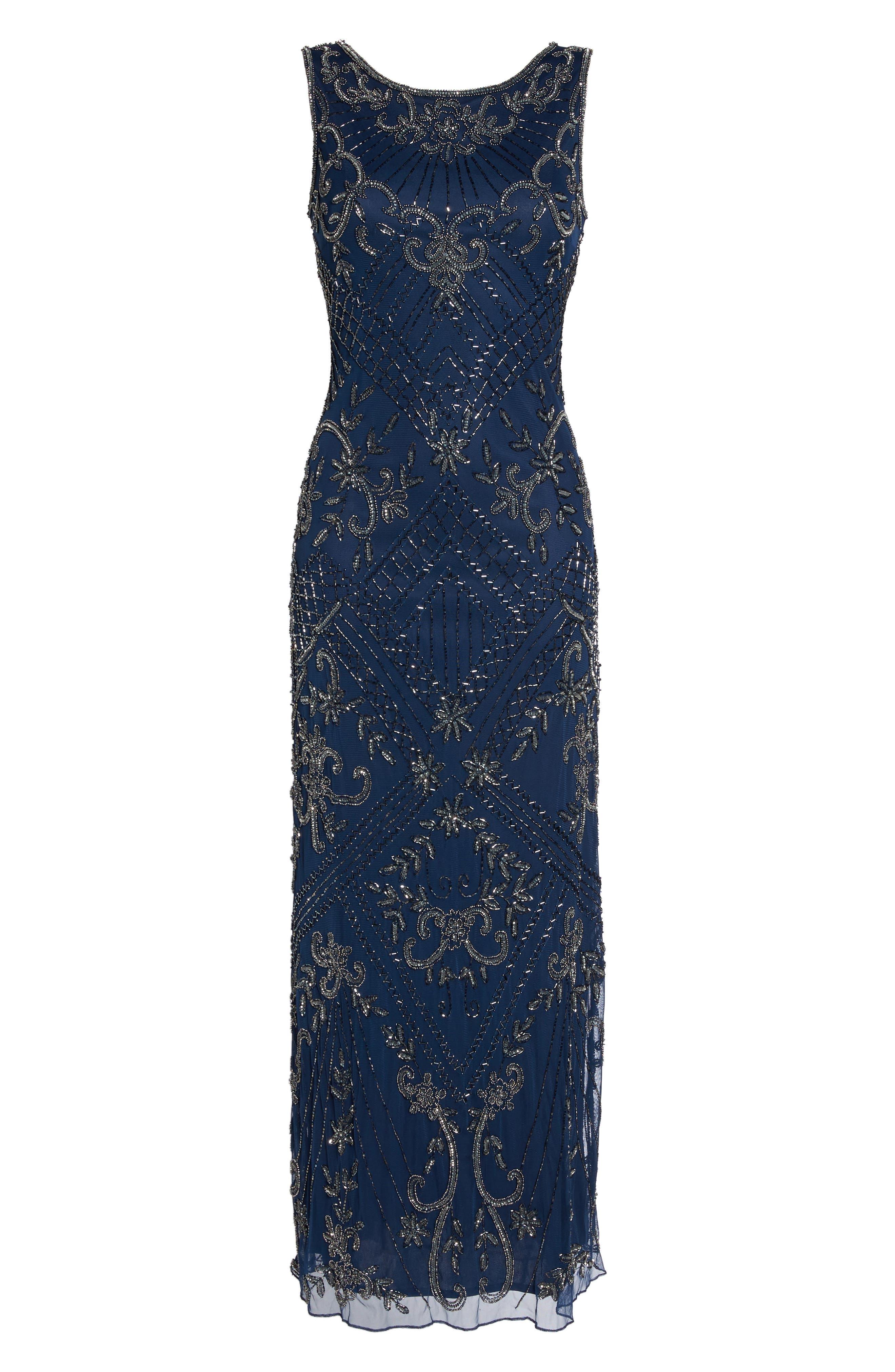 Main Image - Pisarro Nights Embroidered Mesh Gown (Regular & Petite)