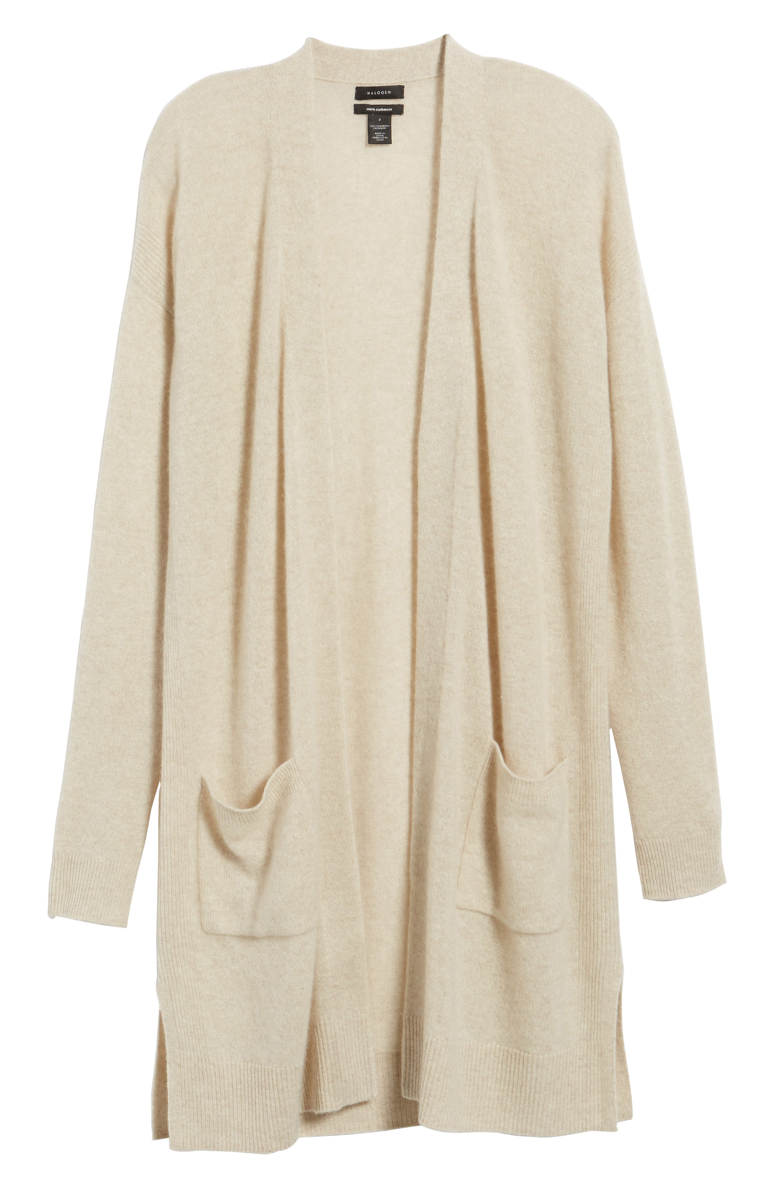 Rib Knit Wool & Cashmere Cardigan,                         Main,                         color, Heather Oatmeal