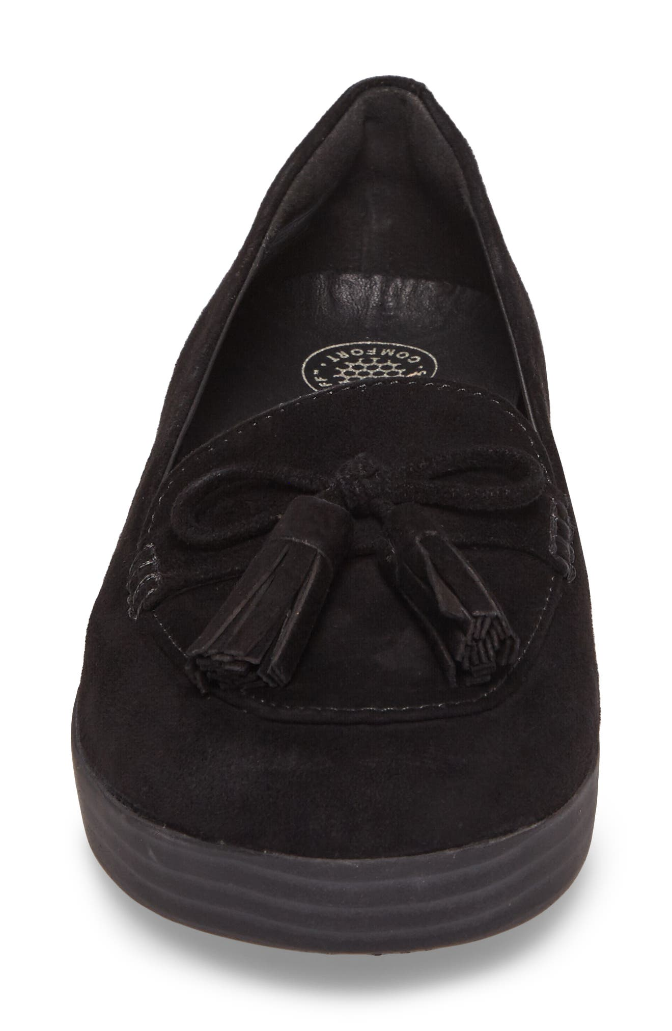 Tassel Bow Sneakerloafer<sup>™</sup> Water Repellent Flat,                             Alternate thumbnail 4, color,                             All Black