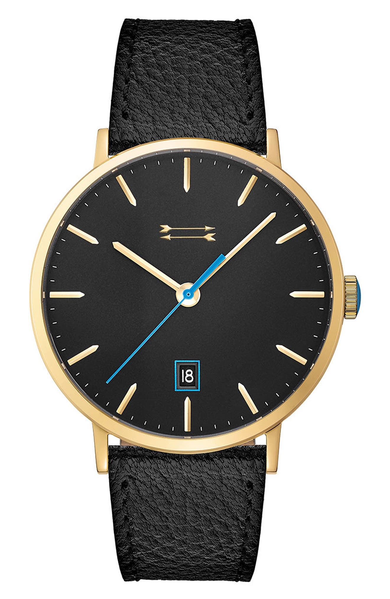 Norrebro Leather Strap Watch, 40mm,                         Main,                         color, Black/ Gold
