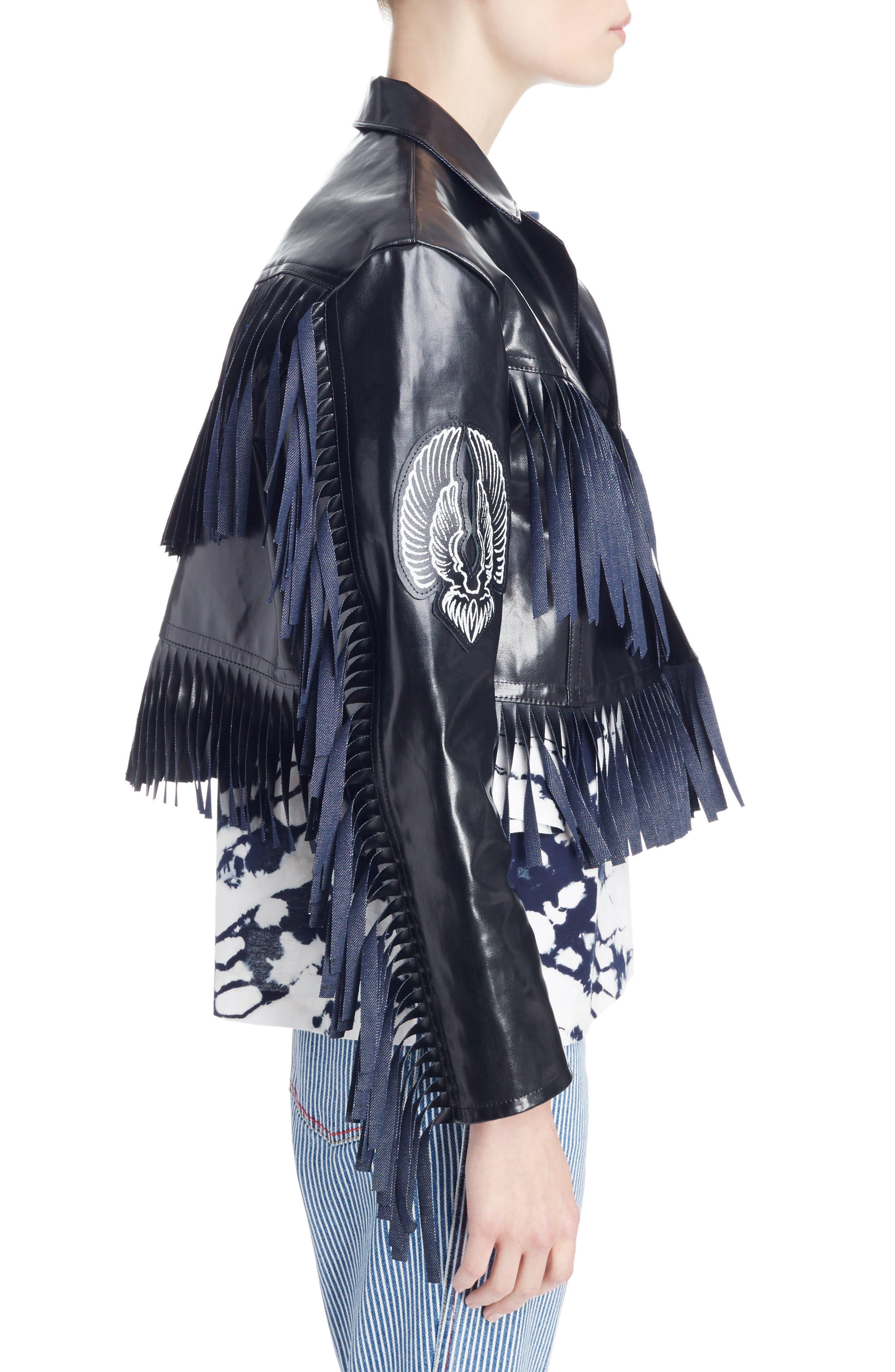 Alternate Image 4  - Toga Fringed Coated Denim Jacket