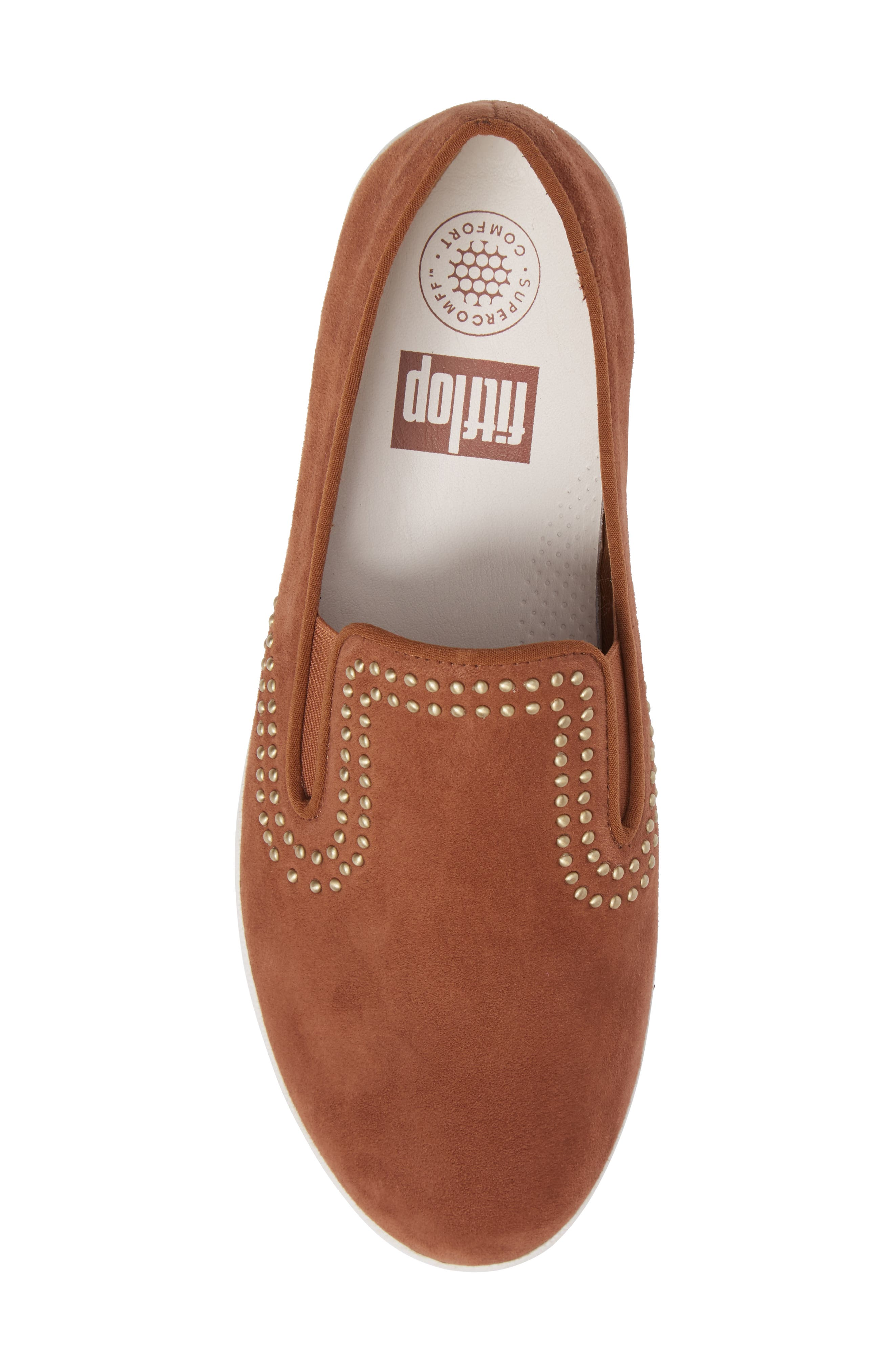 Superskate Studded Wedge Loafer,                             Alternate thumbnail 5, color,                             Tan Faux Suede