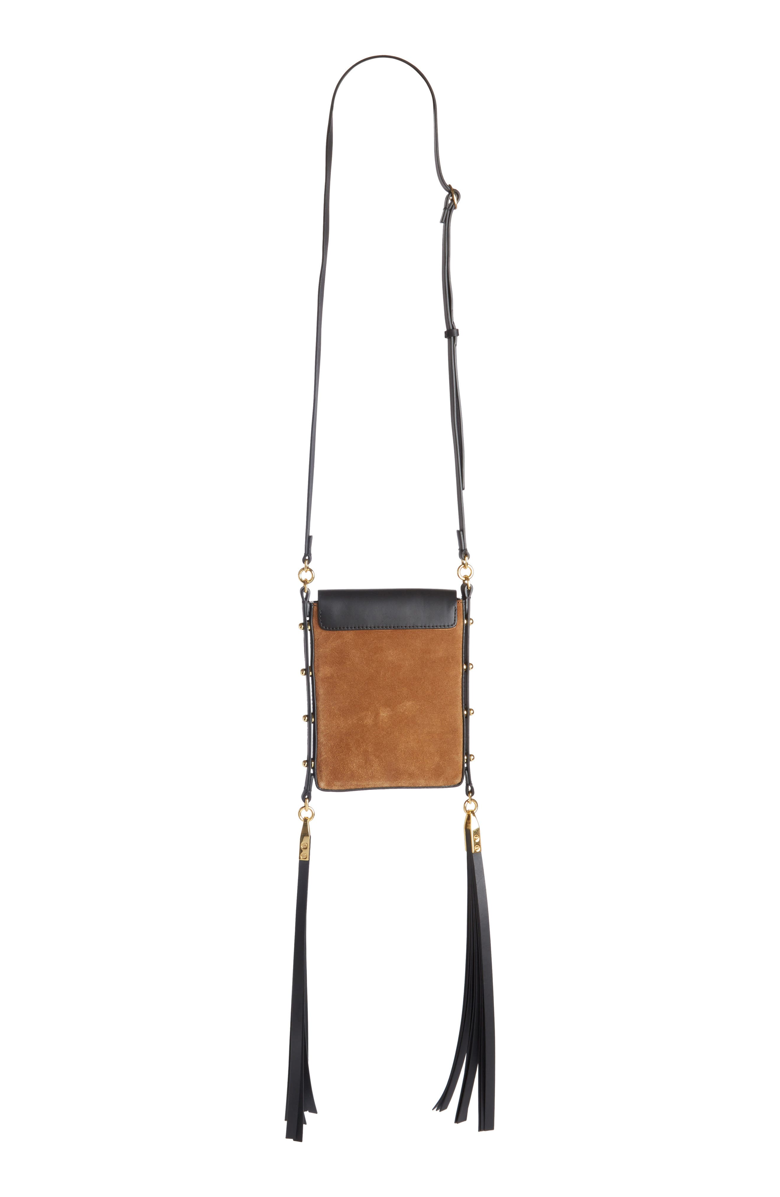Teinsy Fringed Suede Crossbody Bag,                             Alternate thumbnail 2, color,                             Cognac