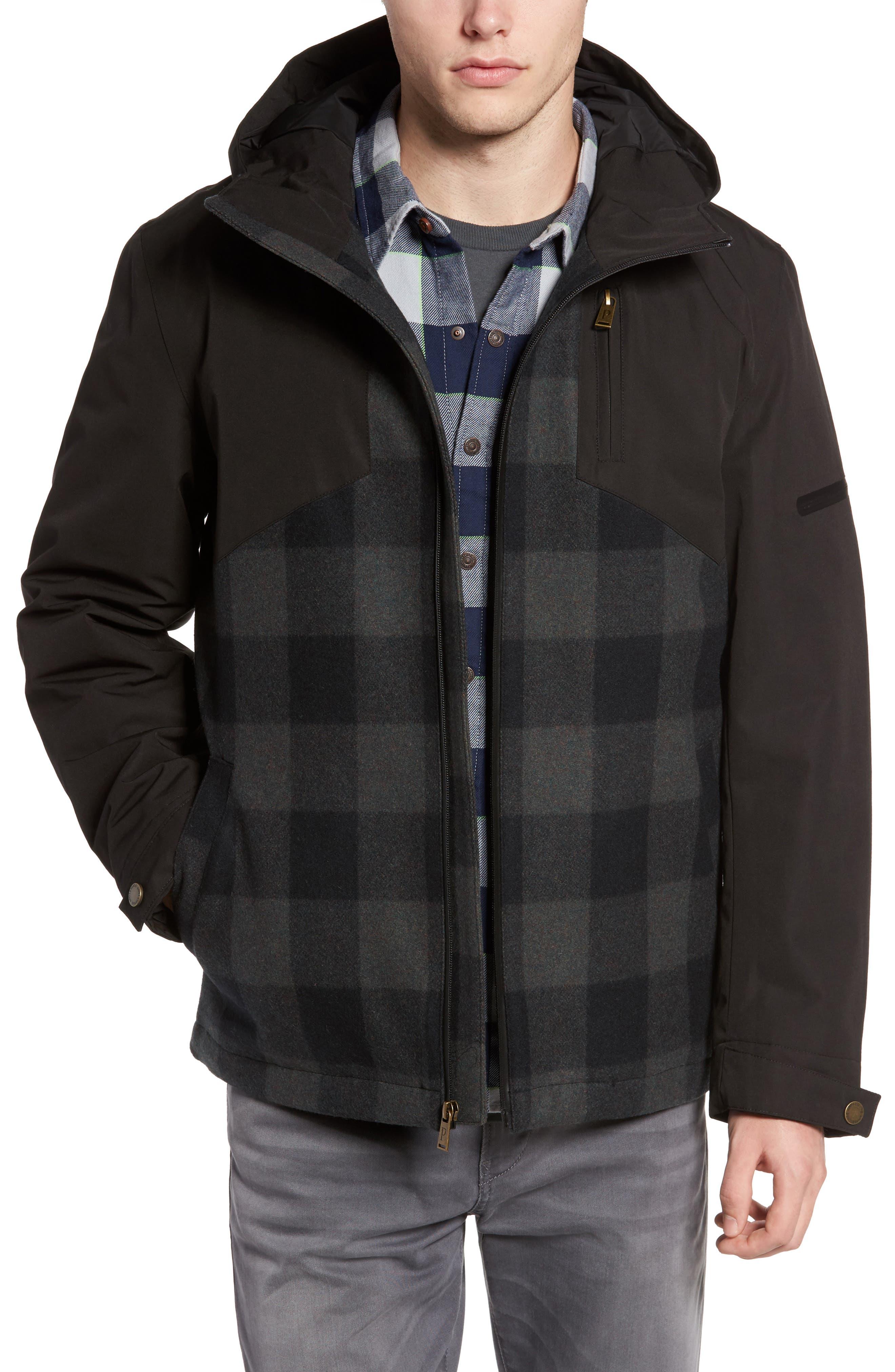 Jackson Hole Waterproof Hooded Jacket,                         Main,                         color, Black W/ Olive