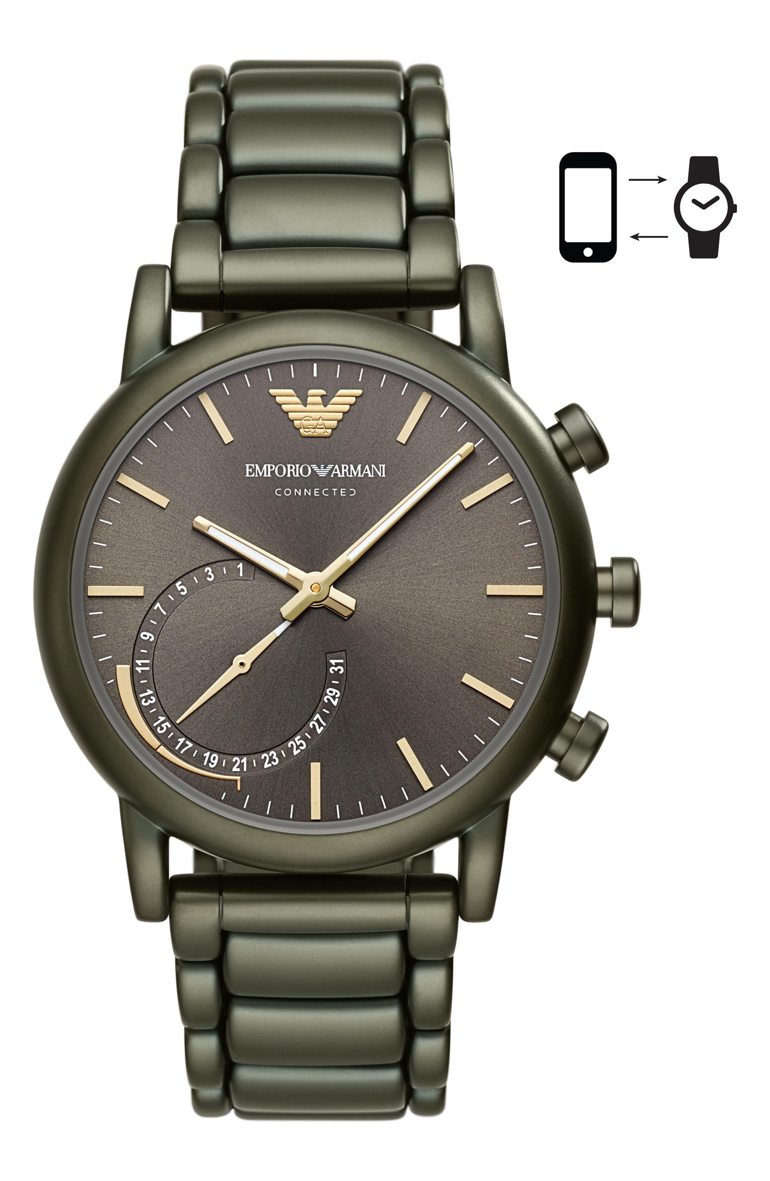 Main Image - Emporio Armani Connected Hybrid Bracelet Smartwatch, 43mm