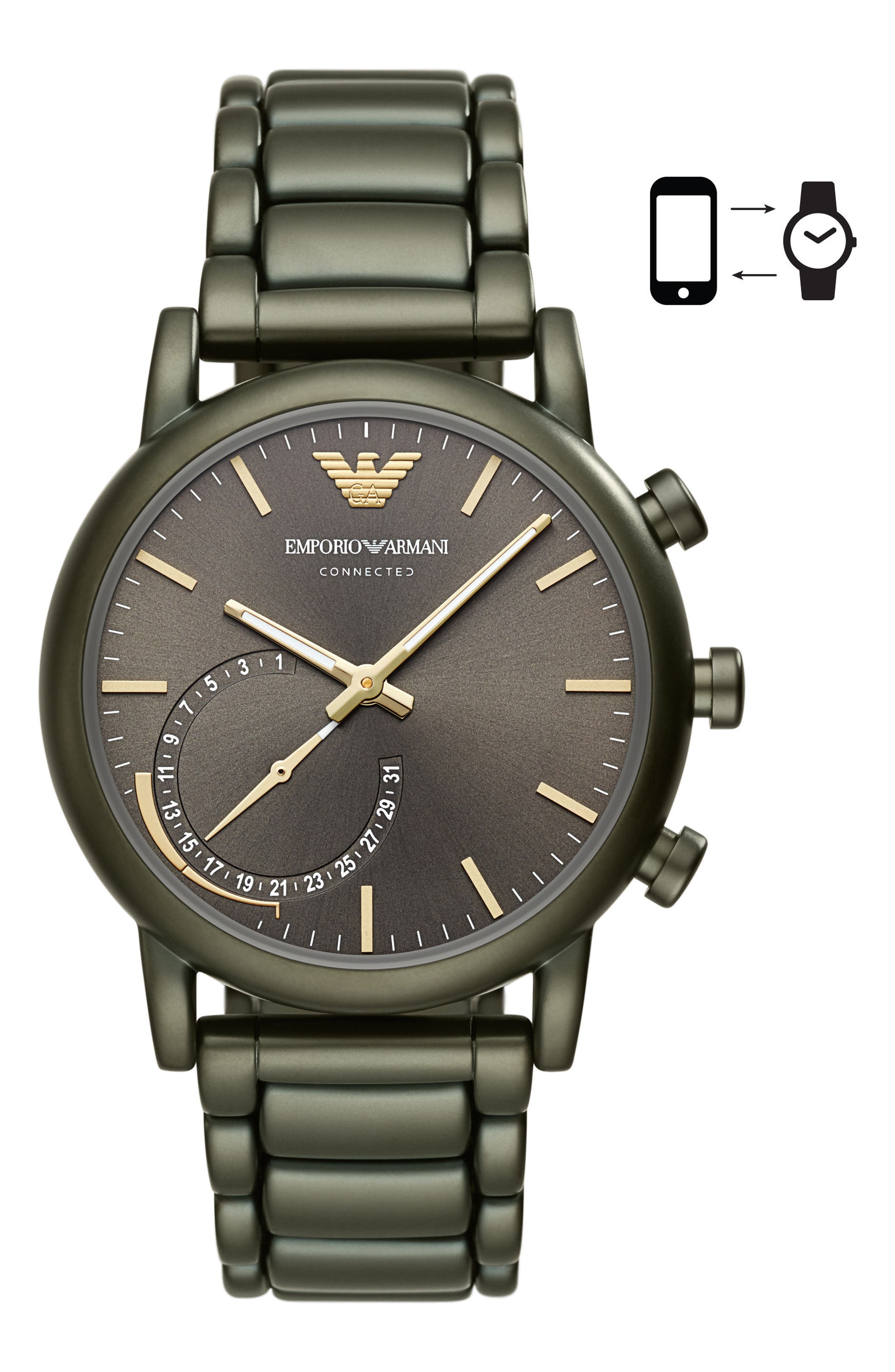Connected Hybrid Bracelet Smartwatch, 43mm,                         Main,                         color, Olive Grey