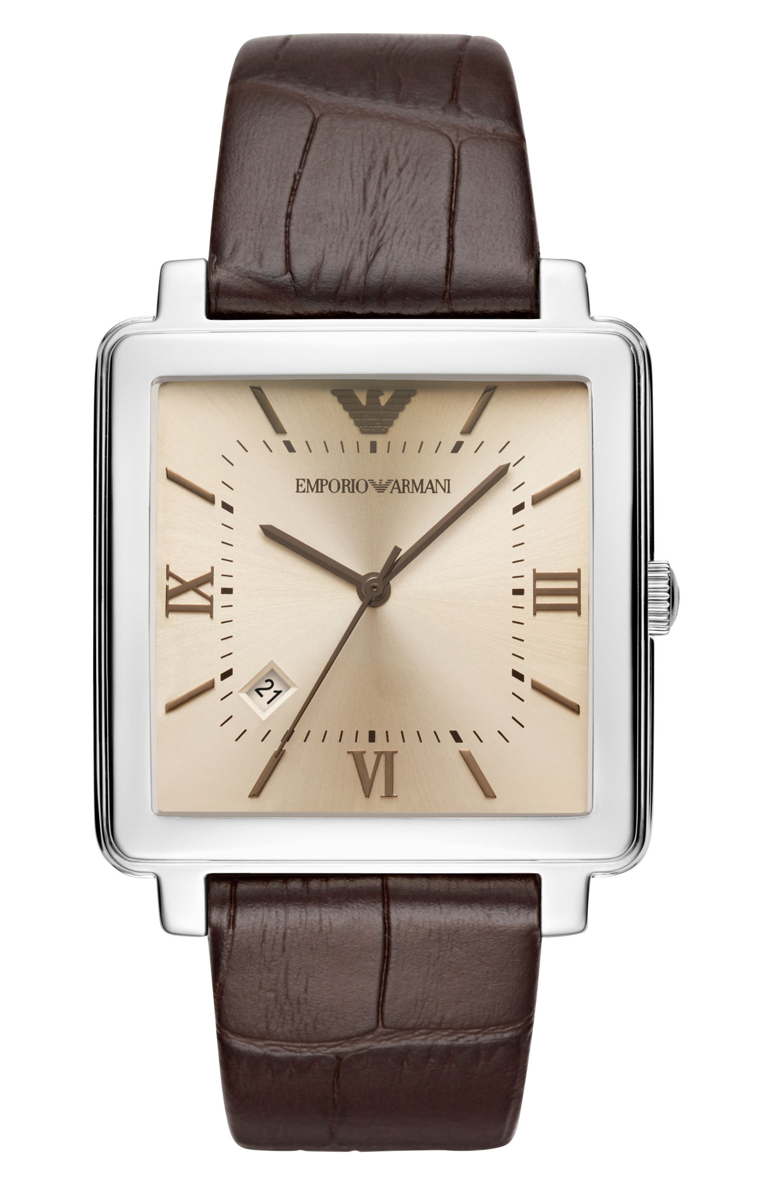 Alternate Image 1 Selected - Emporio Armani Square Leather Strap Watch, 38mm