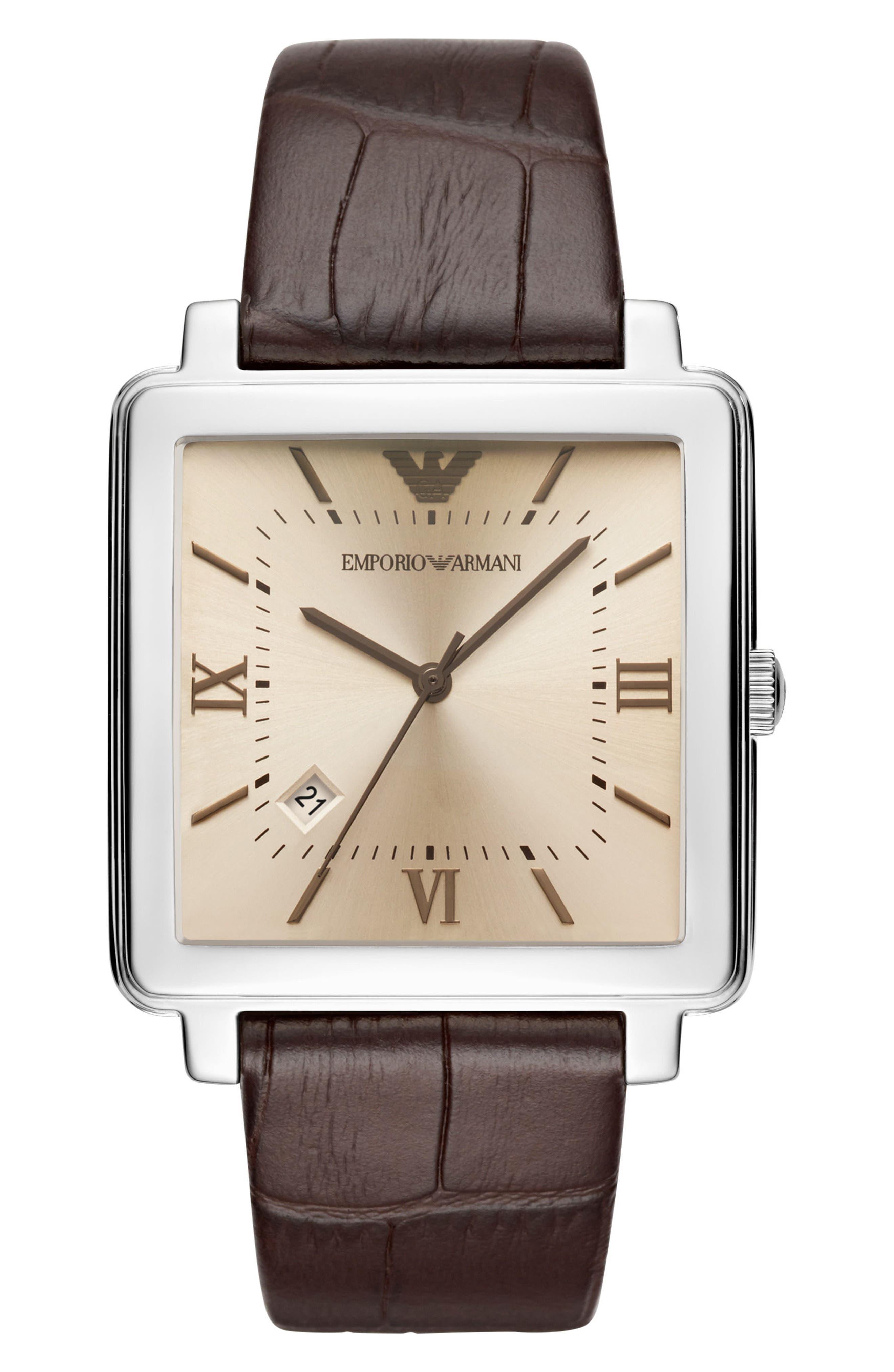 Main Image - Emporio Armani Square Leather Strap Watch, 38mm