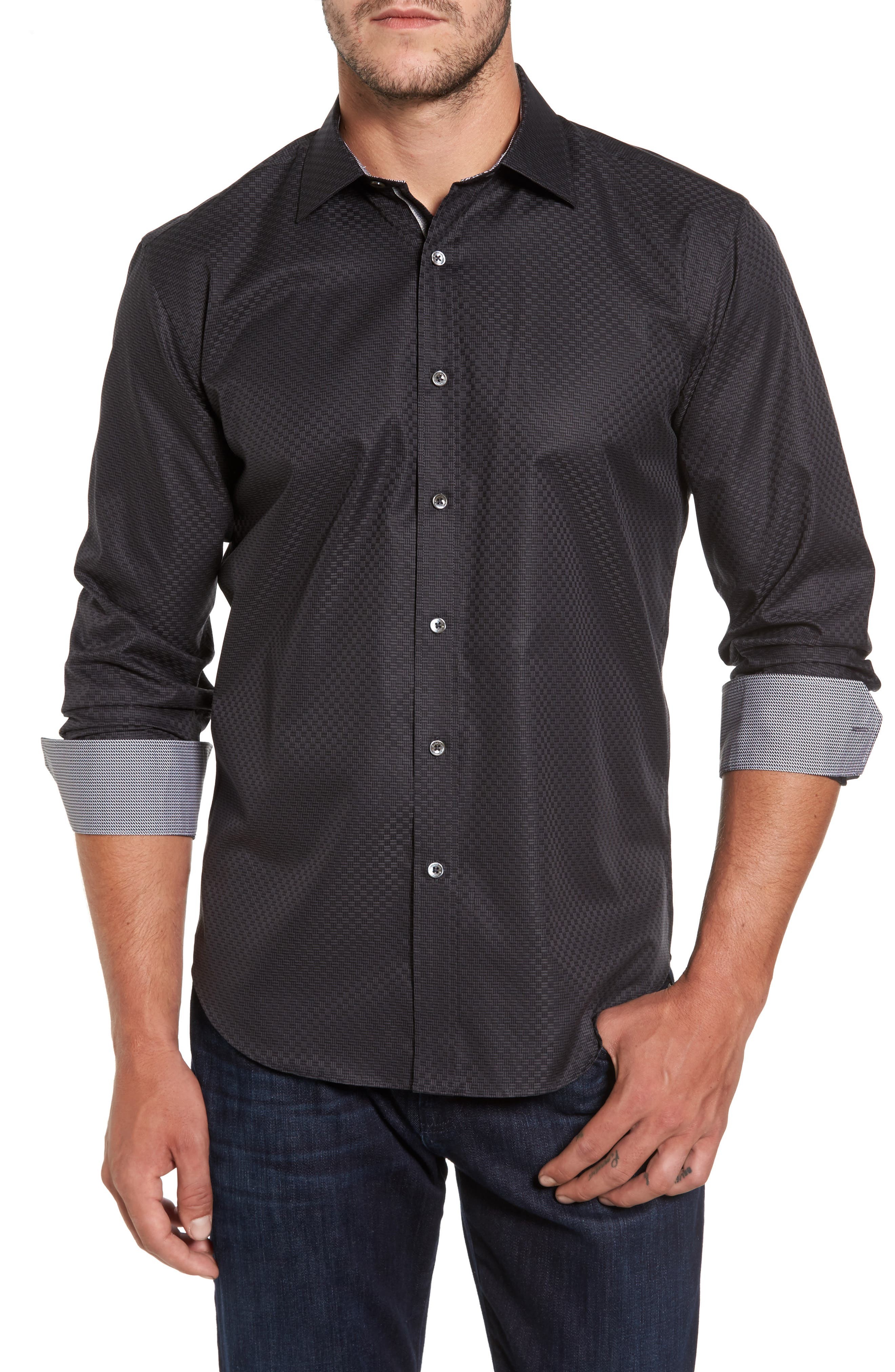 Alternate Image 1 Selected - Bugatchi Shaped Fit Sport Shirt