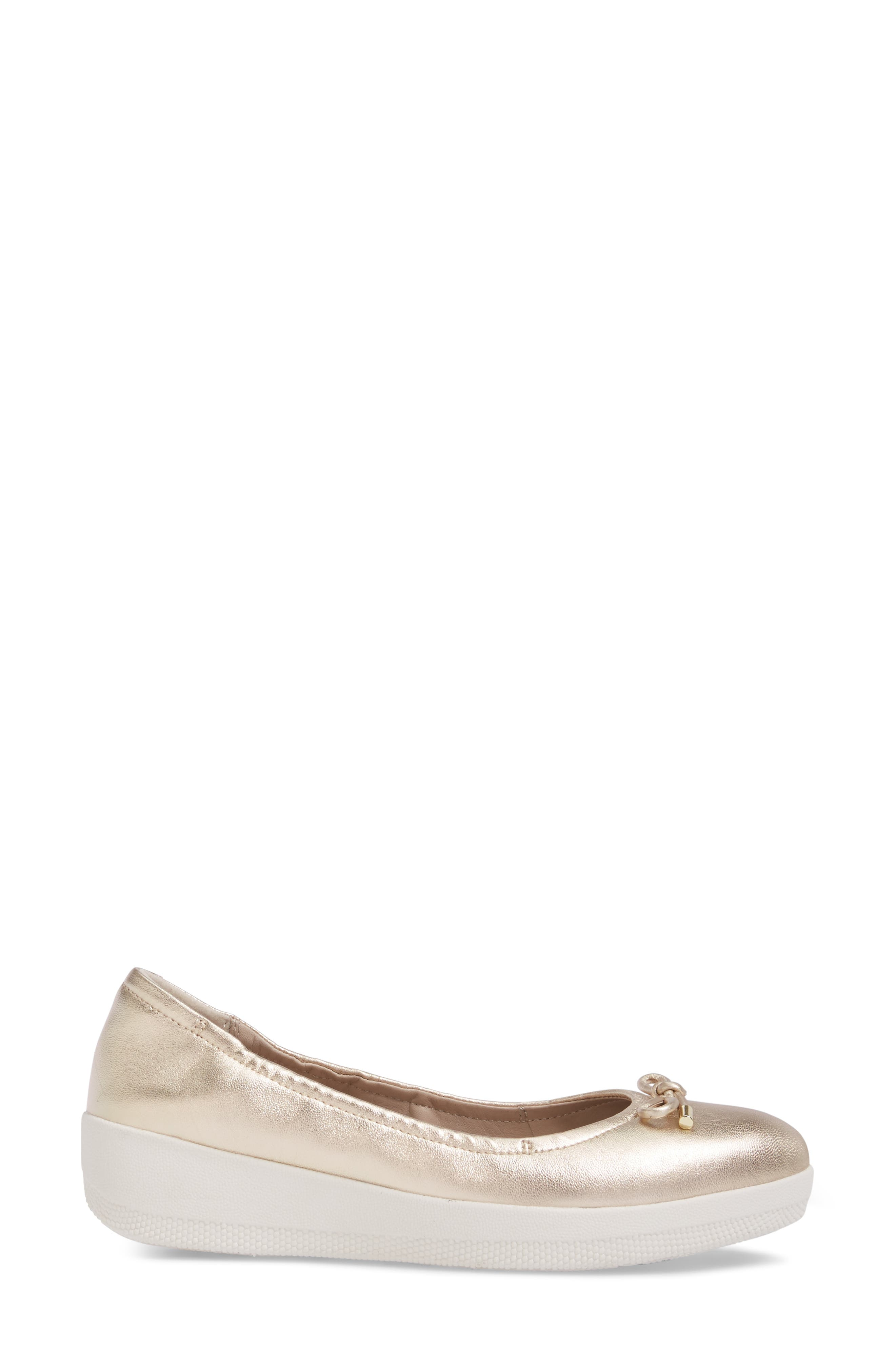Superbendy Ballerina Flat,                             Alternate thumbnail 3, color,                             Pale Gold Leather
