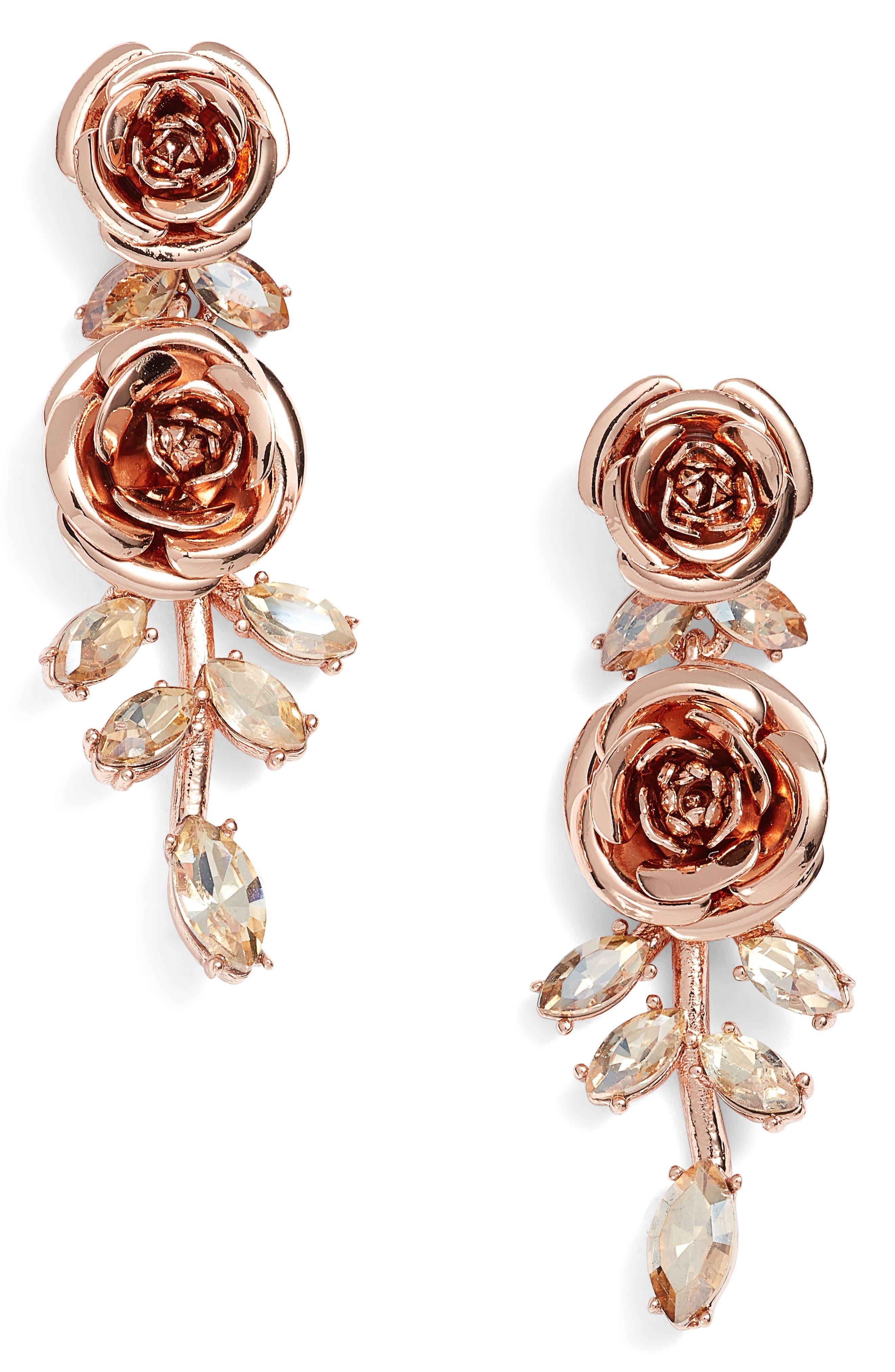 garden garland linear drop earrings,                         Main,                         color, Rose Gold