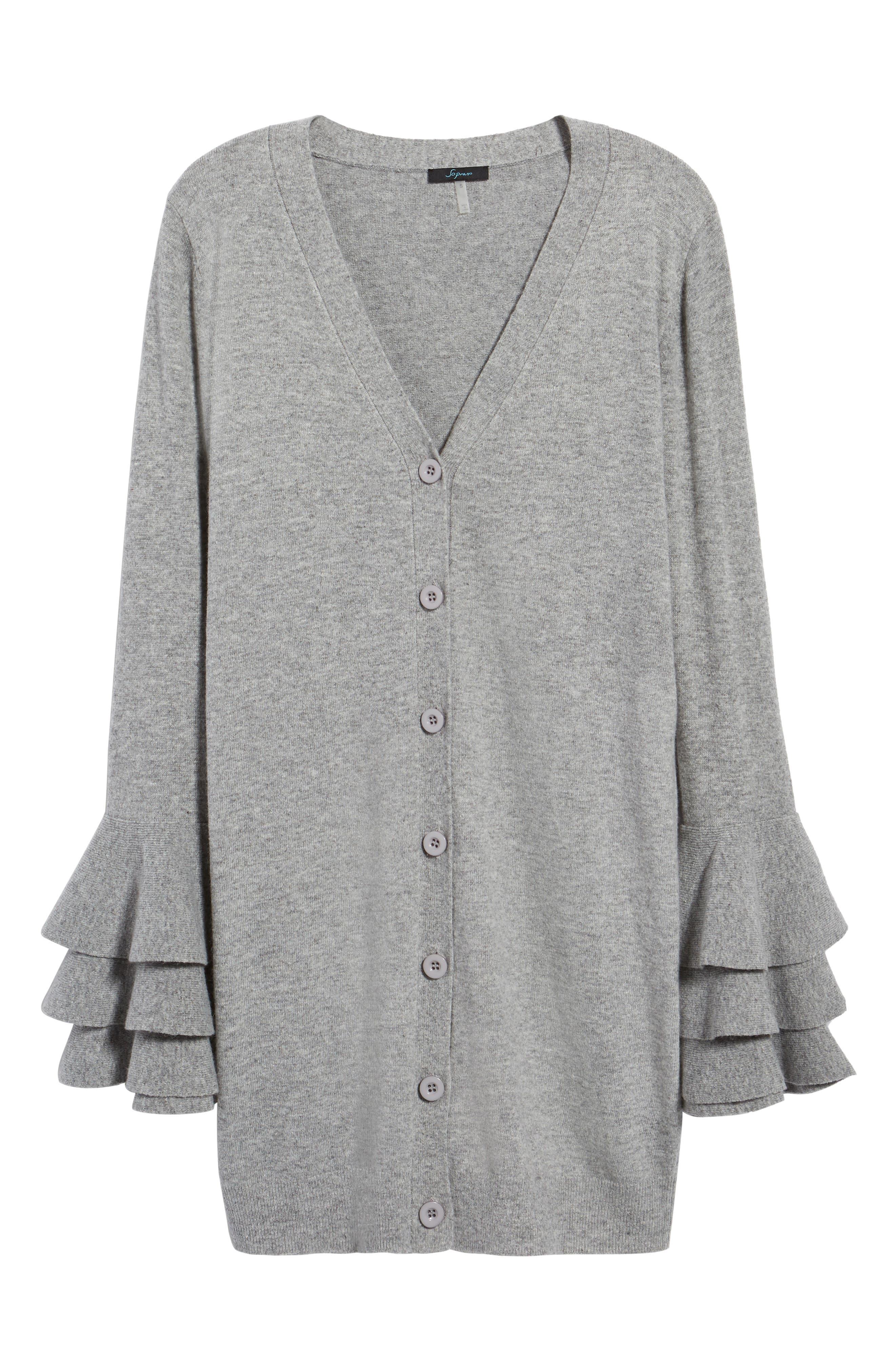 Ruffle Sleeve Longline Cardigan,                             Alternate thumbnail 6, color,                             Grey