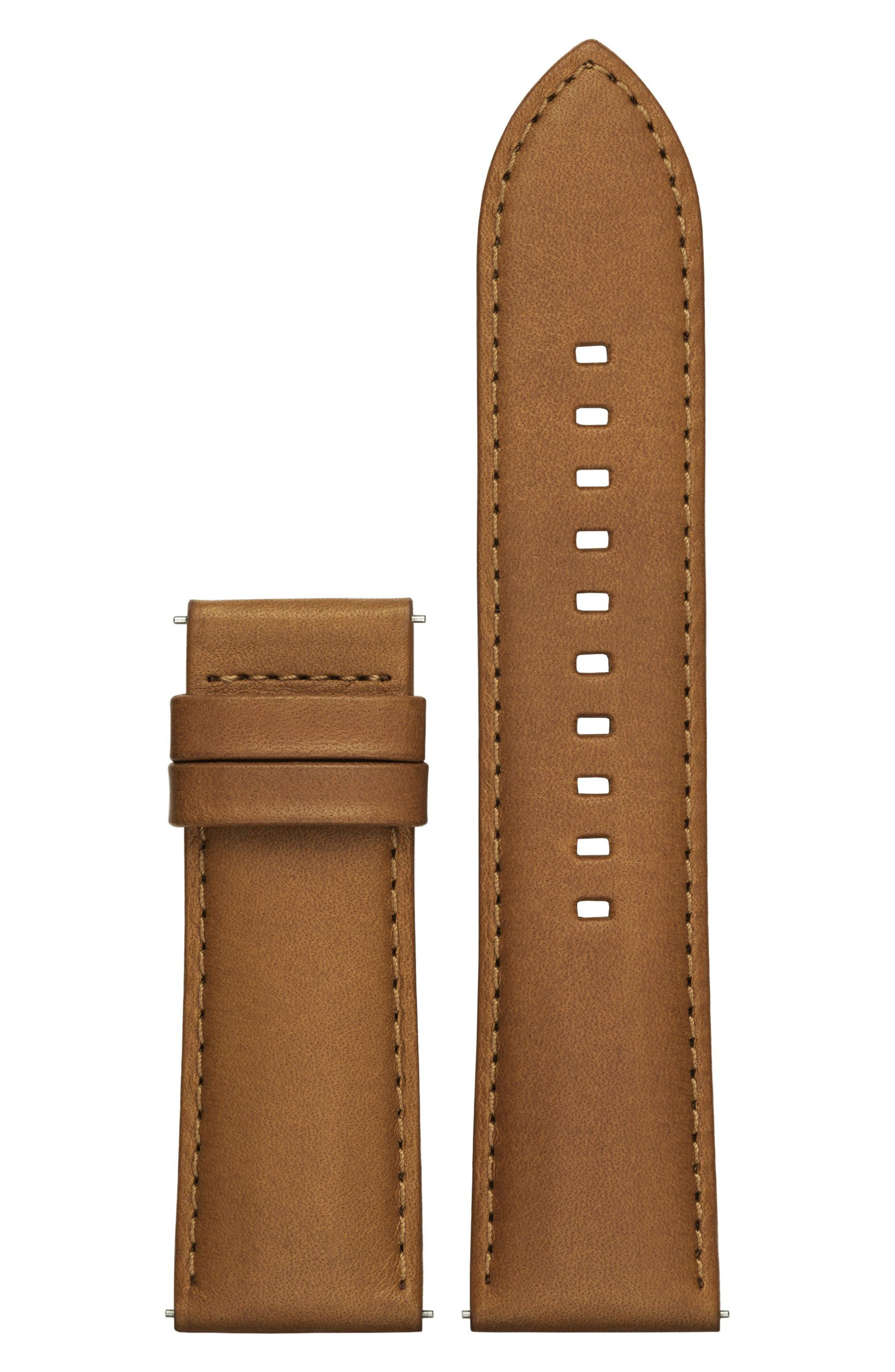 Grayson 24mm Leather Watch Strap,                             Main thumbnail 1, color,                             Brown