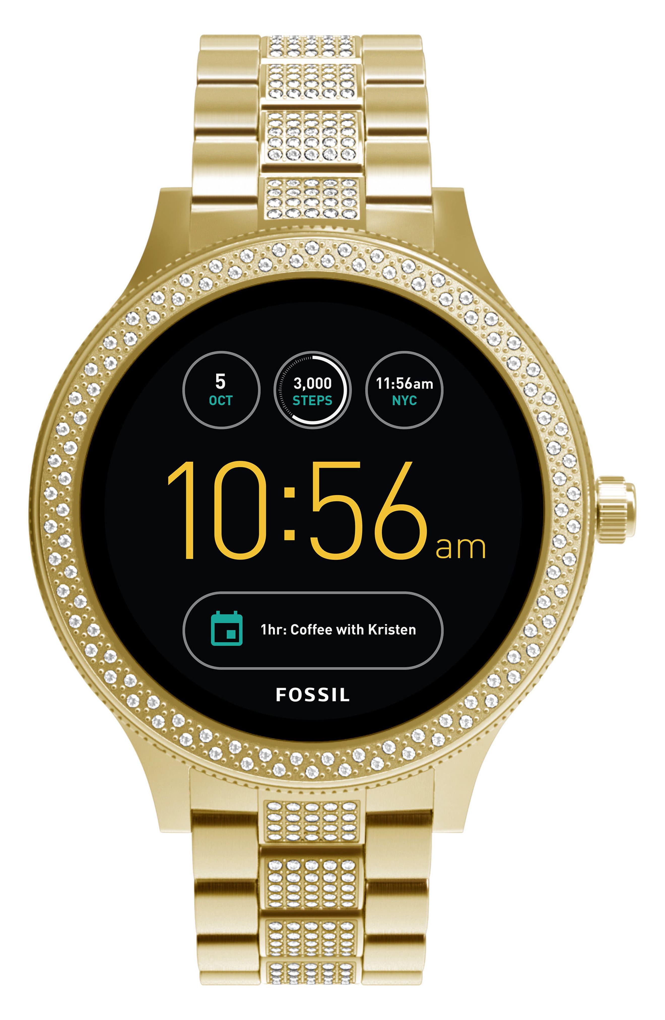 Fossil Q Venture Gen 3 Crystal Accent Bracelet Smartwatch, 42mm