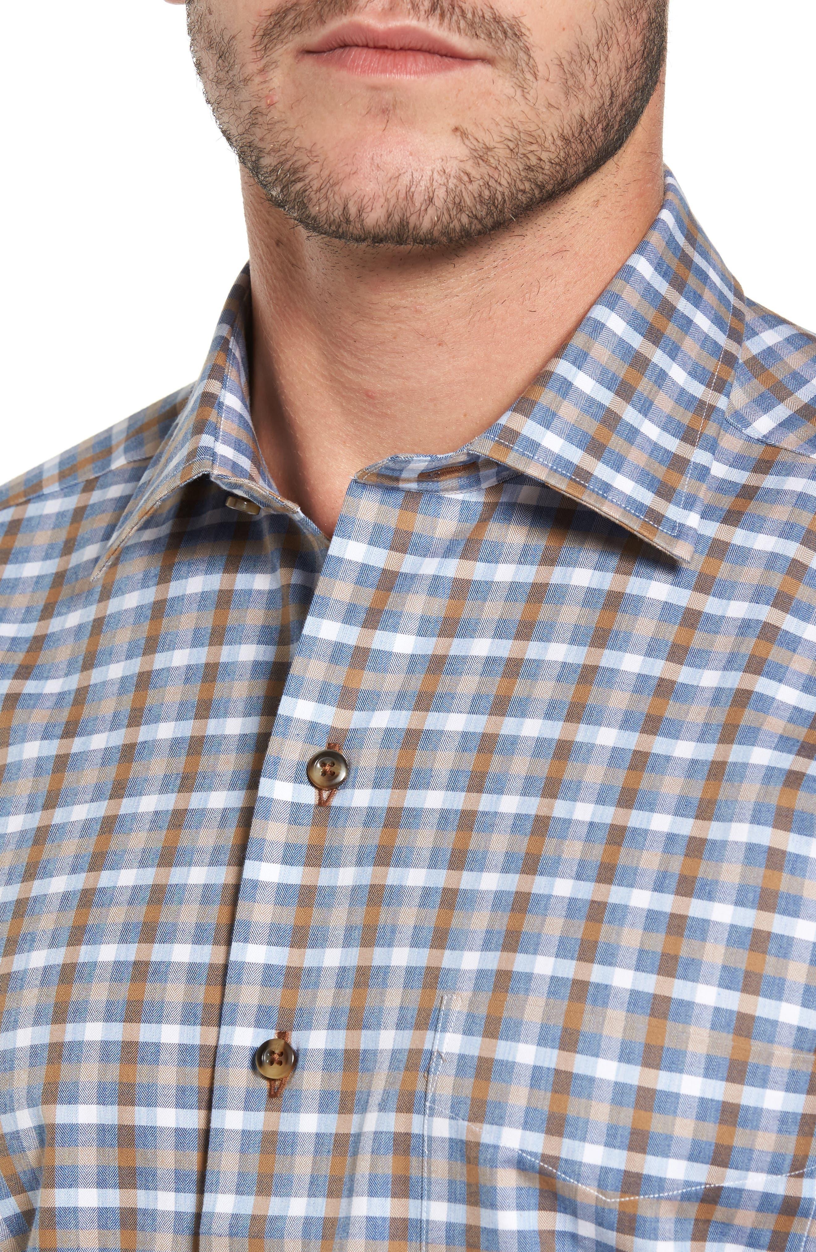 Alternate Image 4  - David Donahue Plaid Regular Fit Sport Shirt