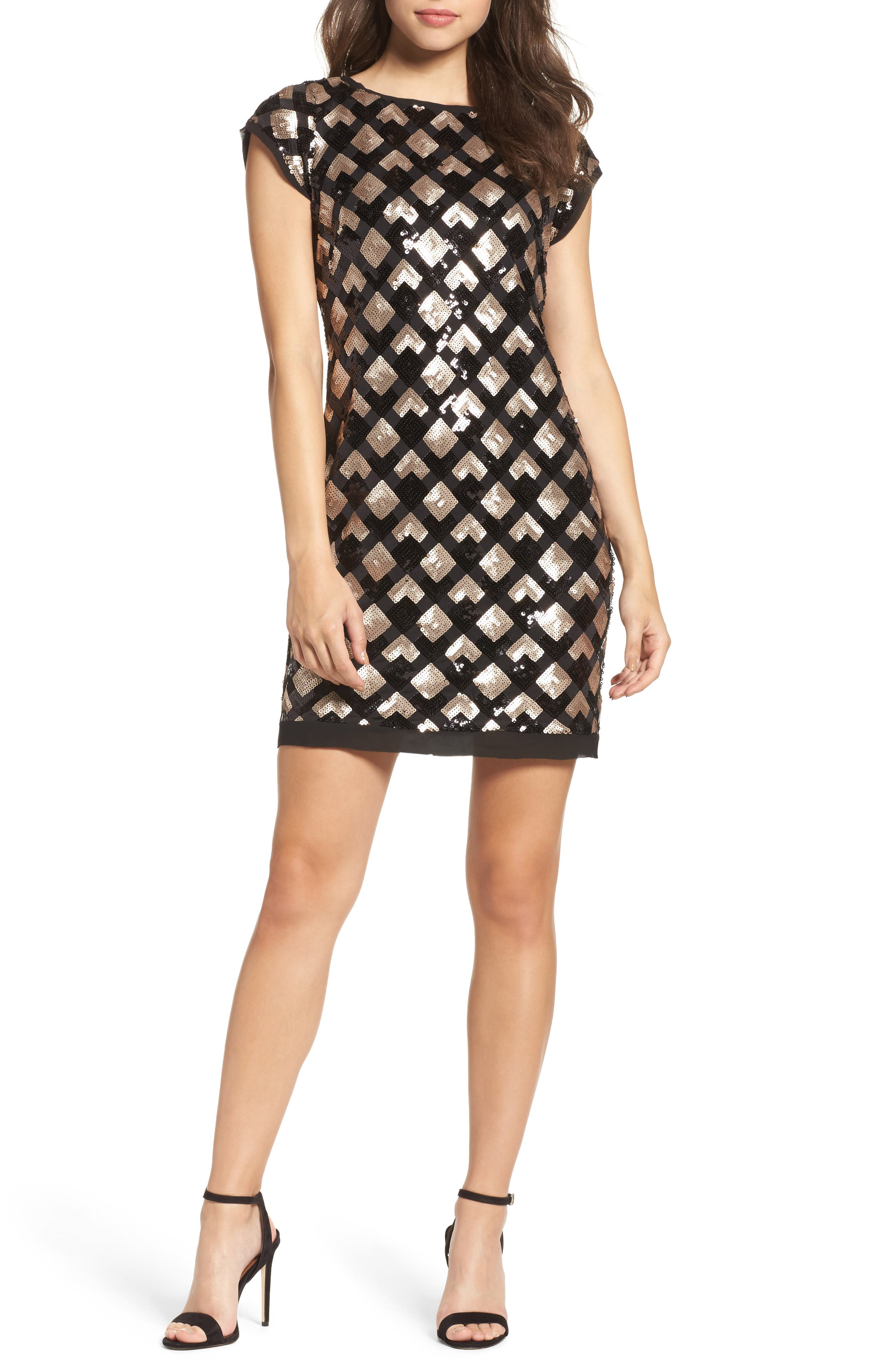 Sequin Sheath Dress,                             Main thumbnail 1, color,                             Black/ Champagne
