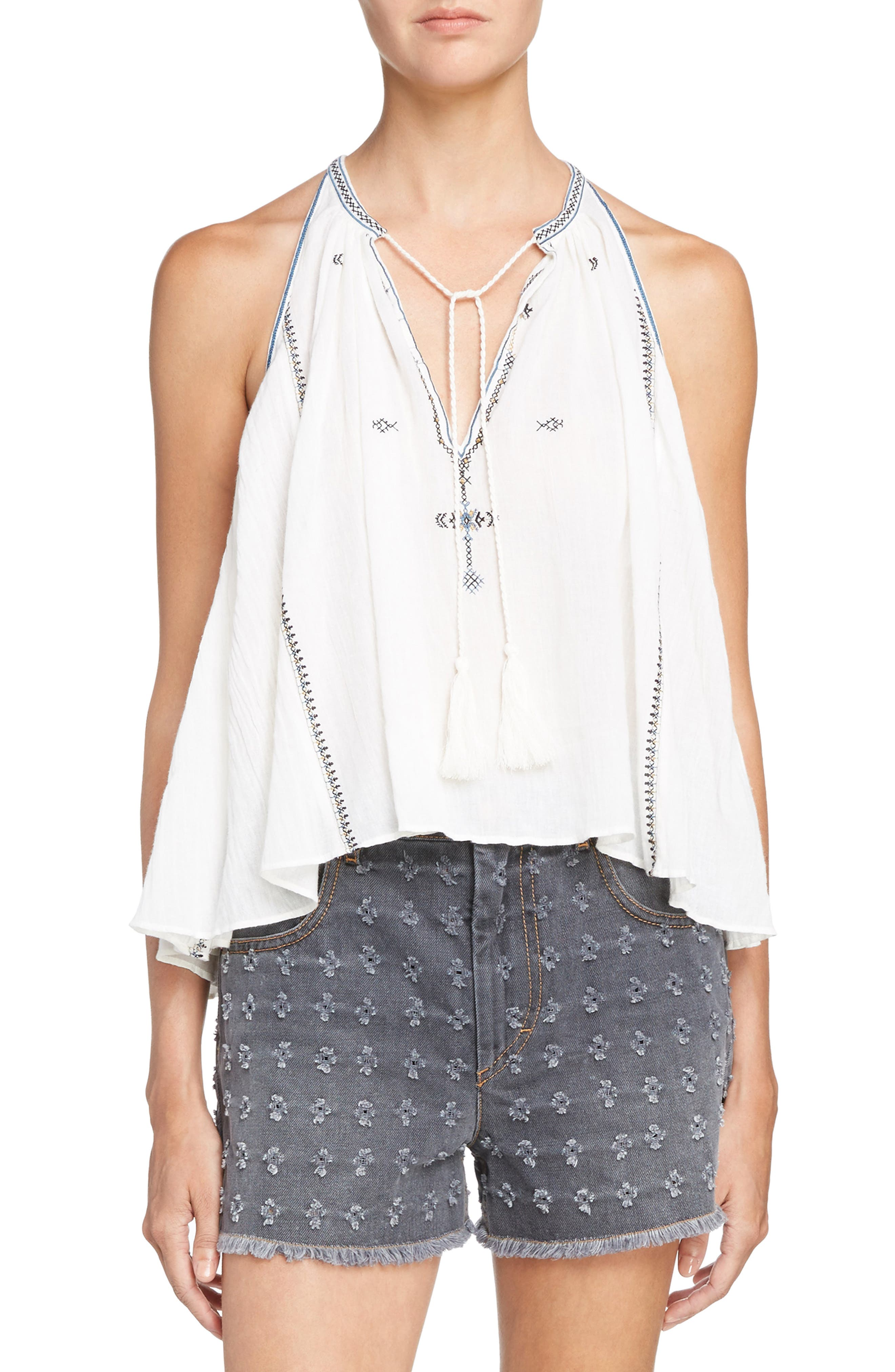 Isabel Marant Étoile Mysen Embroidered Cotton Top