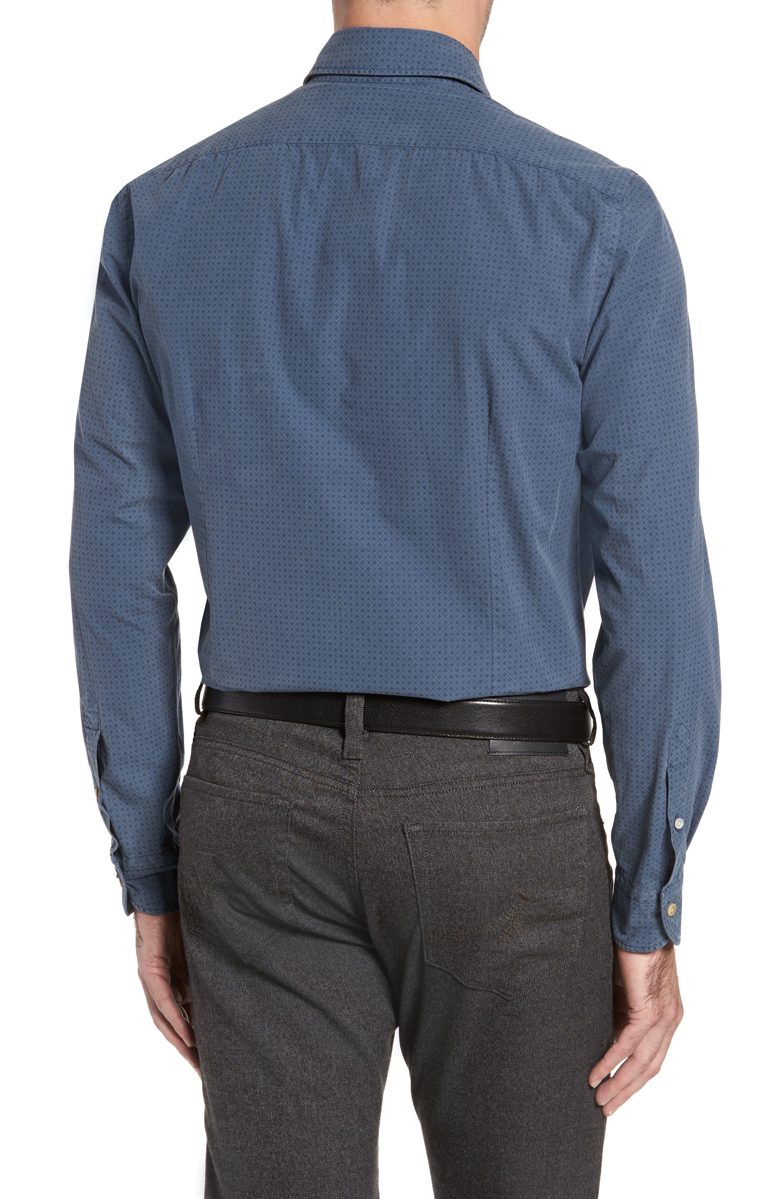 Classic Fit Diamond Print Sport Shirt,                             Alternate thumbnail 2, color,                             Blue