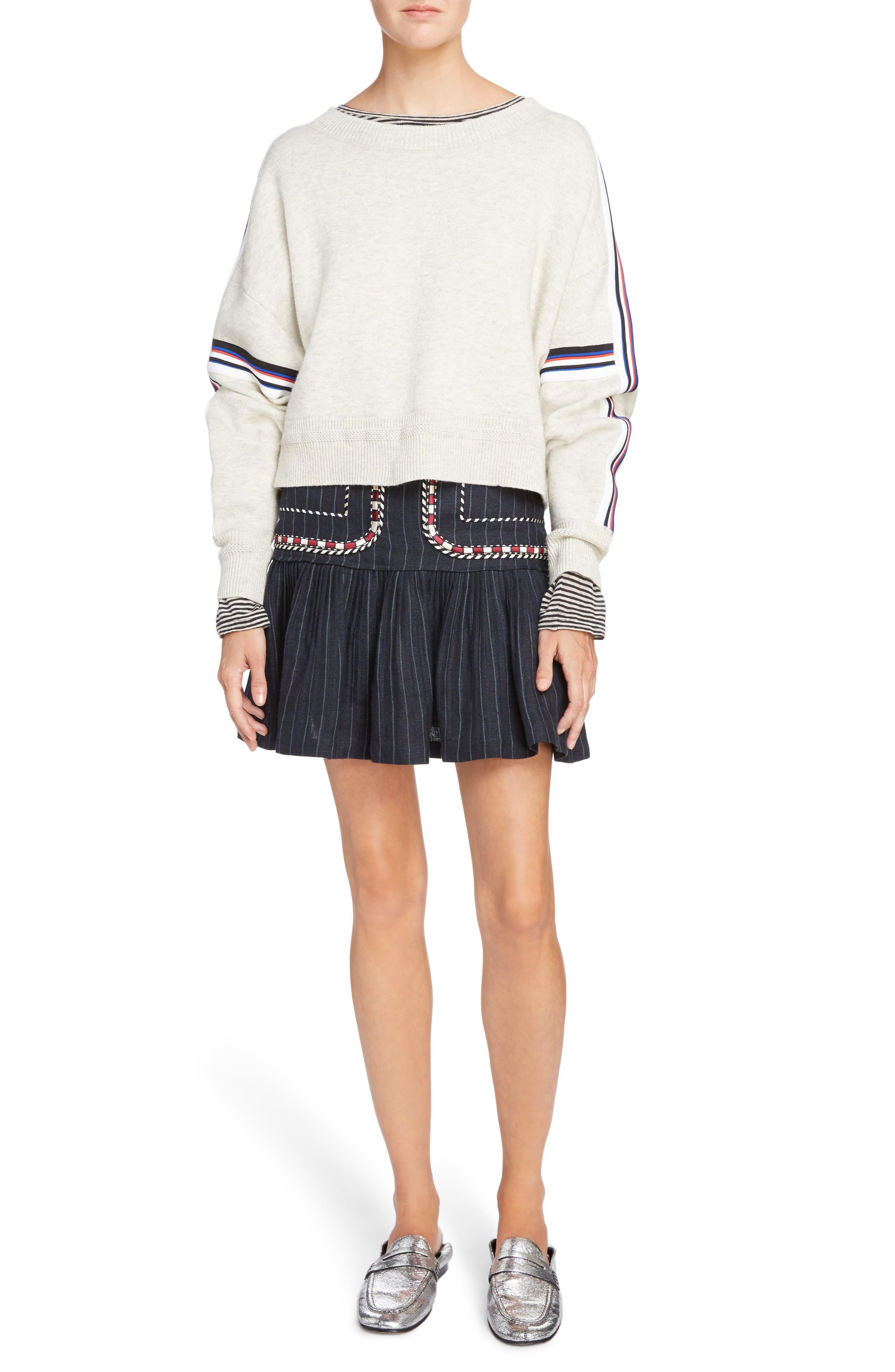 Isabel Marant Étoile Jessie Embroidered Linen Skirt,                             Alternate thumbnail 6, color,                             Midnight
