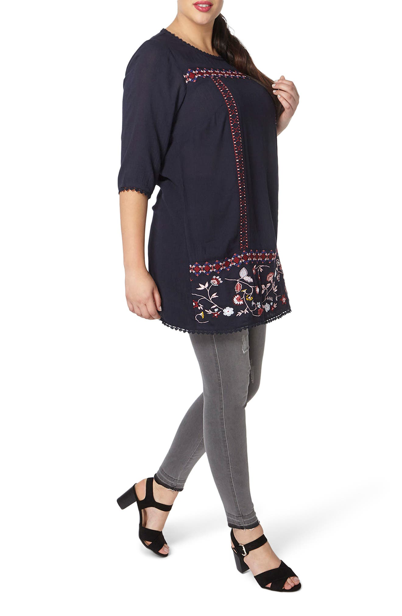 Embroidered Tunic,                             Alternate thumbnail 4, color,                             Navy