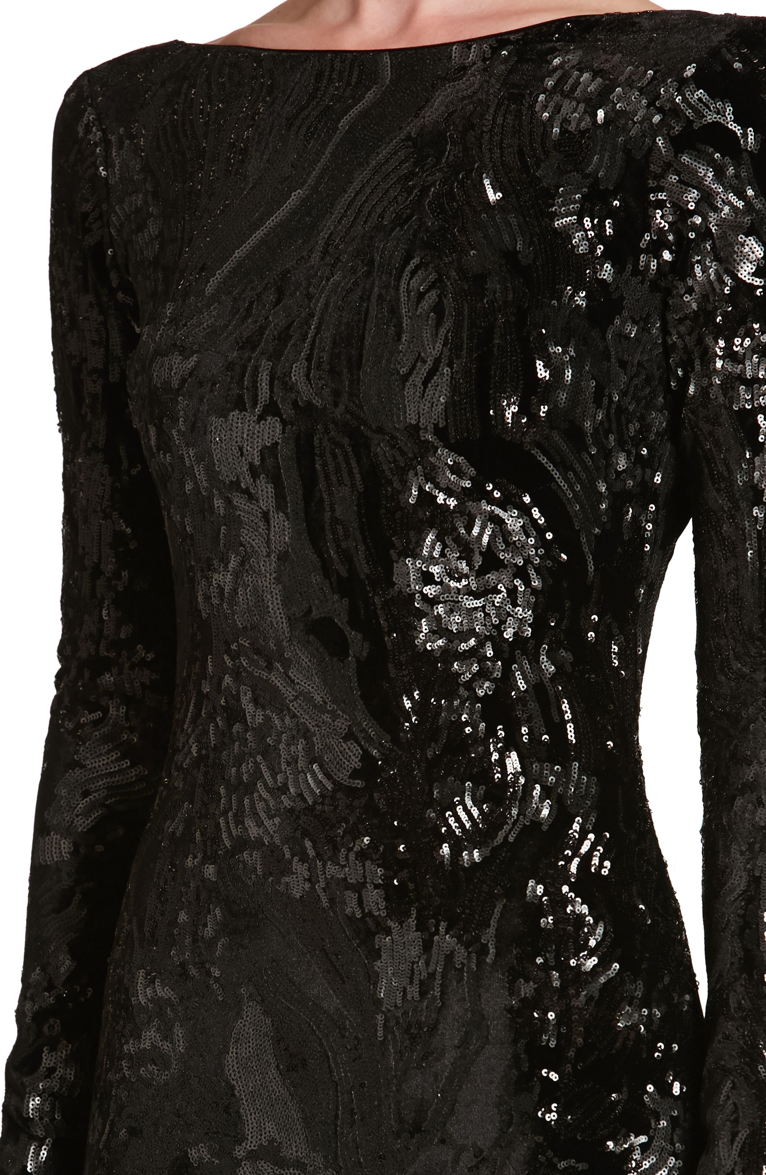 Alternate Image 4  - Dress the Population Lola Sequin Velvet Body-Con Dress