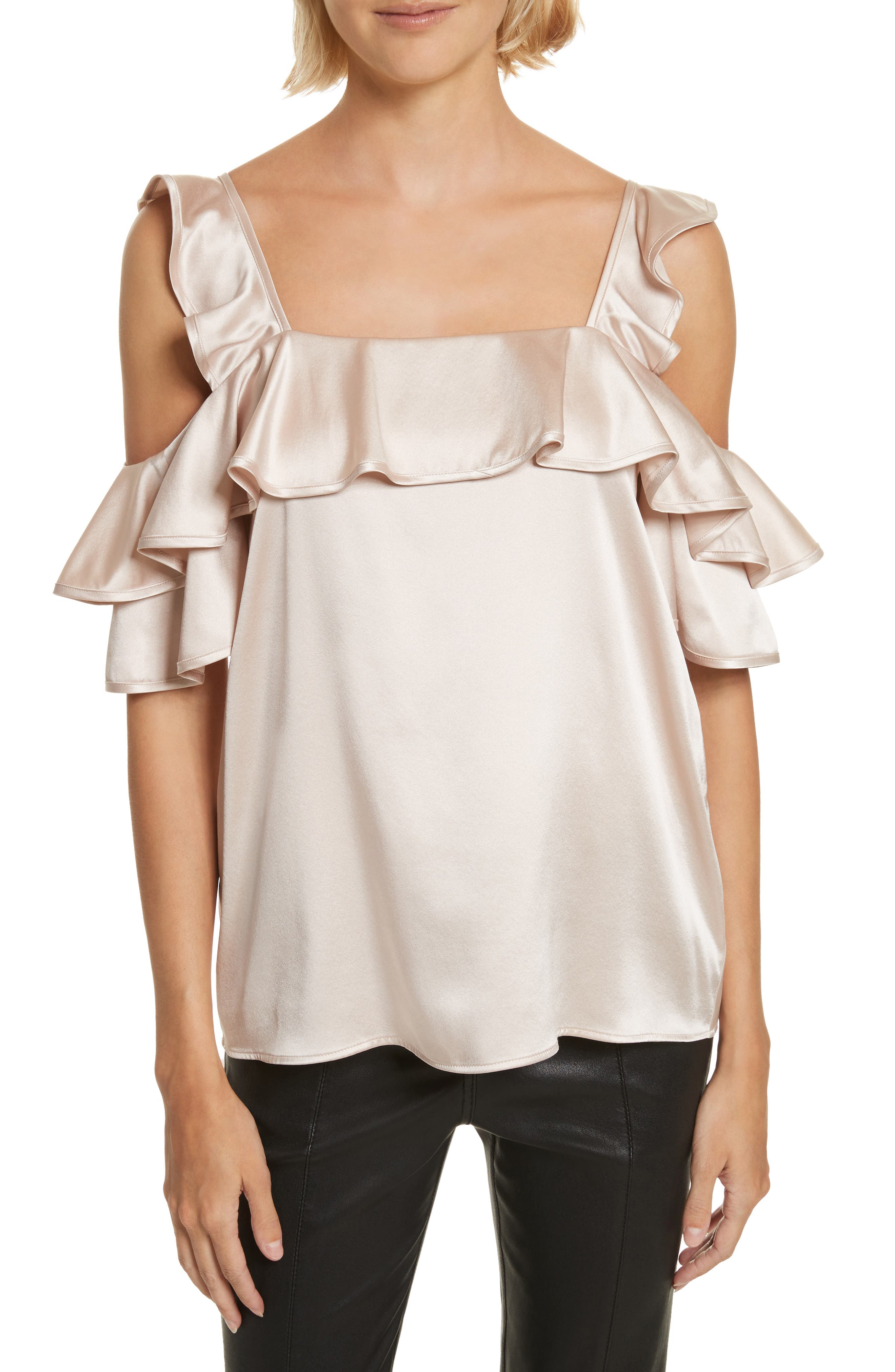 Willow Silk Blend Cold Shoulder Top,                         Main,                         color, Powder