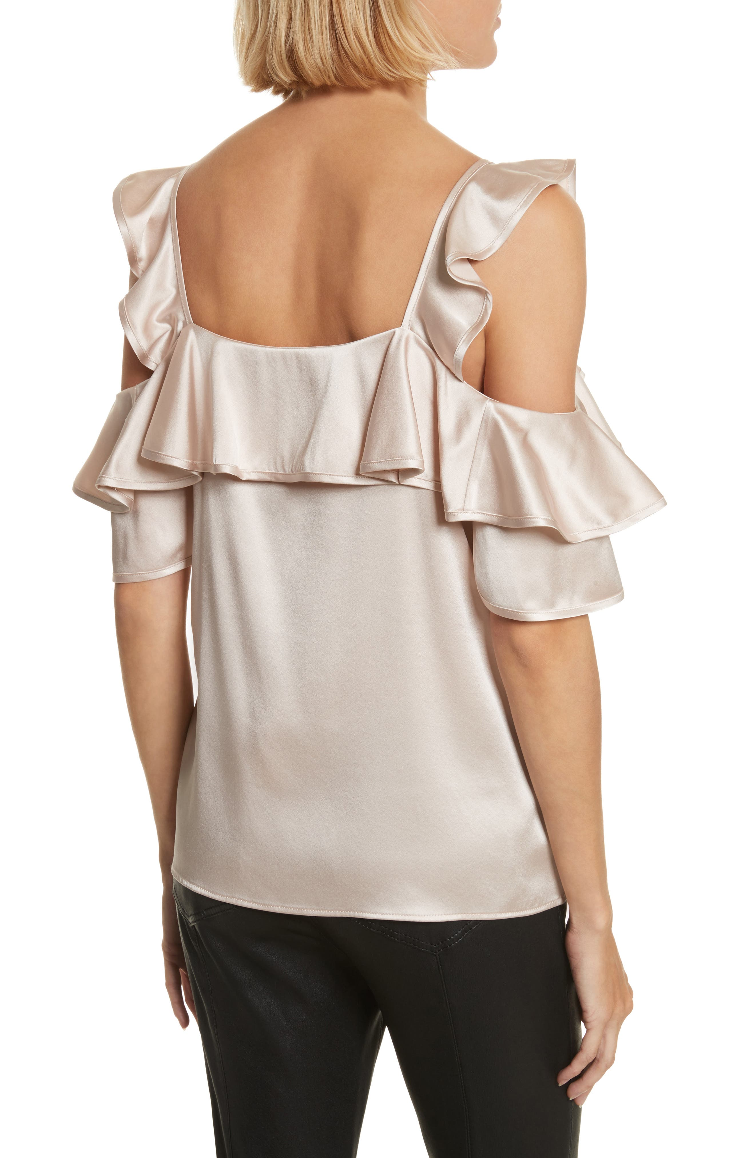 Willow Silk Blend Cold Shoulder Top,                             Alternate thumbnail 2, color,                             Powder
